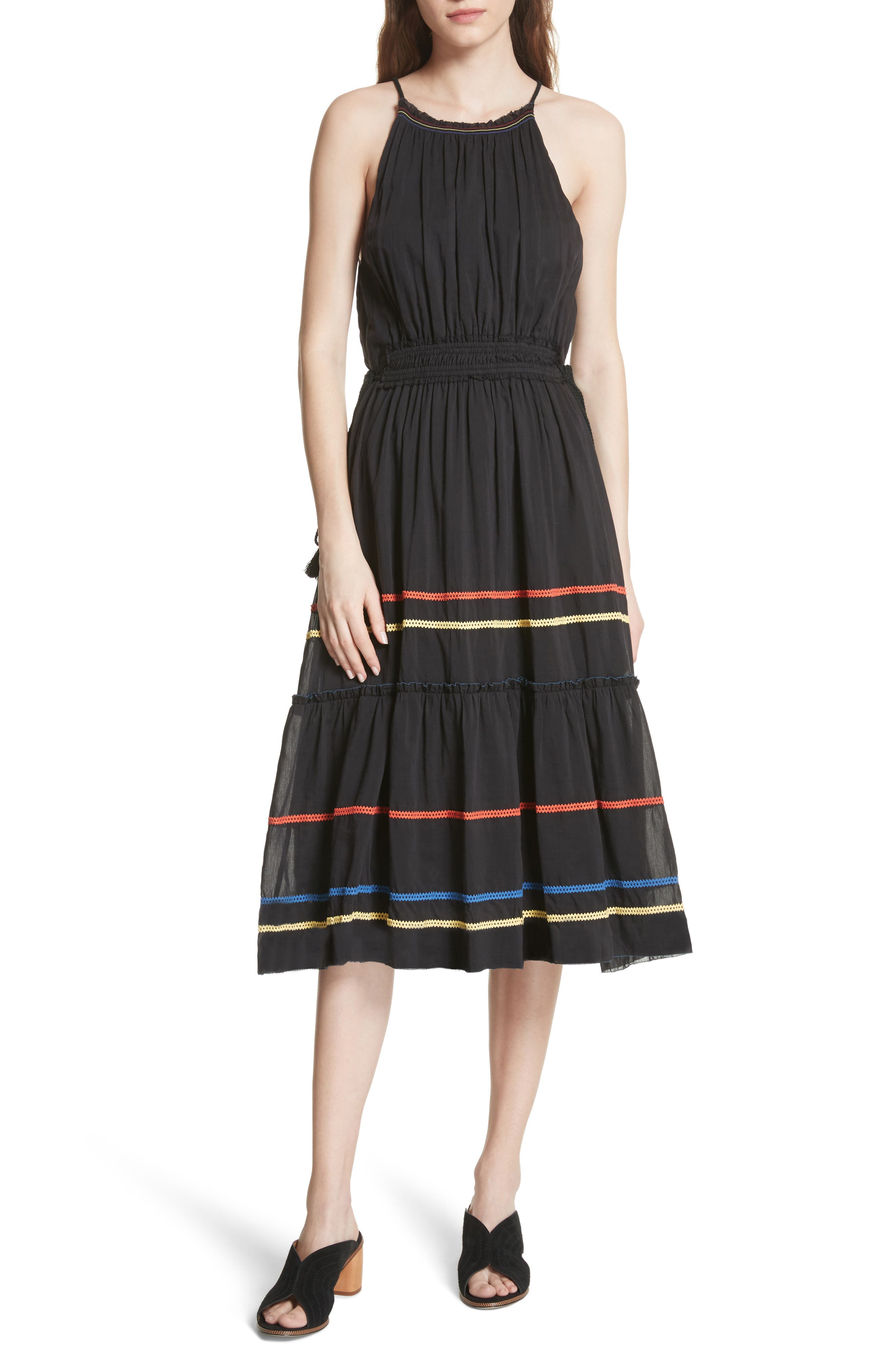 Danit Embroidered Stripe Cotton & Silk Dress,                             Main thumbnail 1, color,                             Caviar