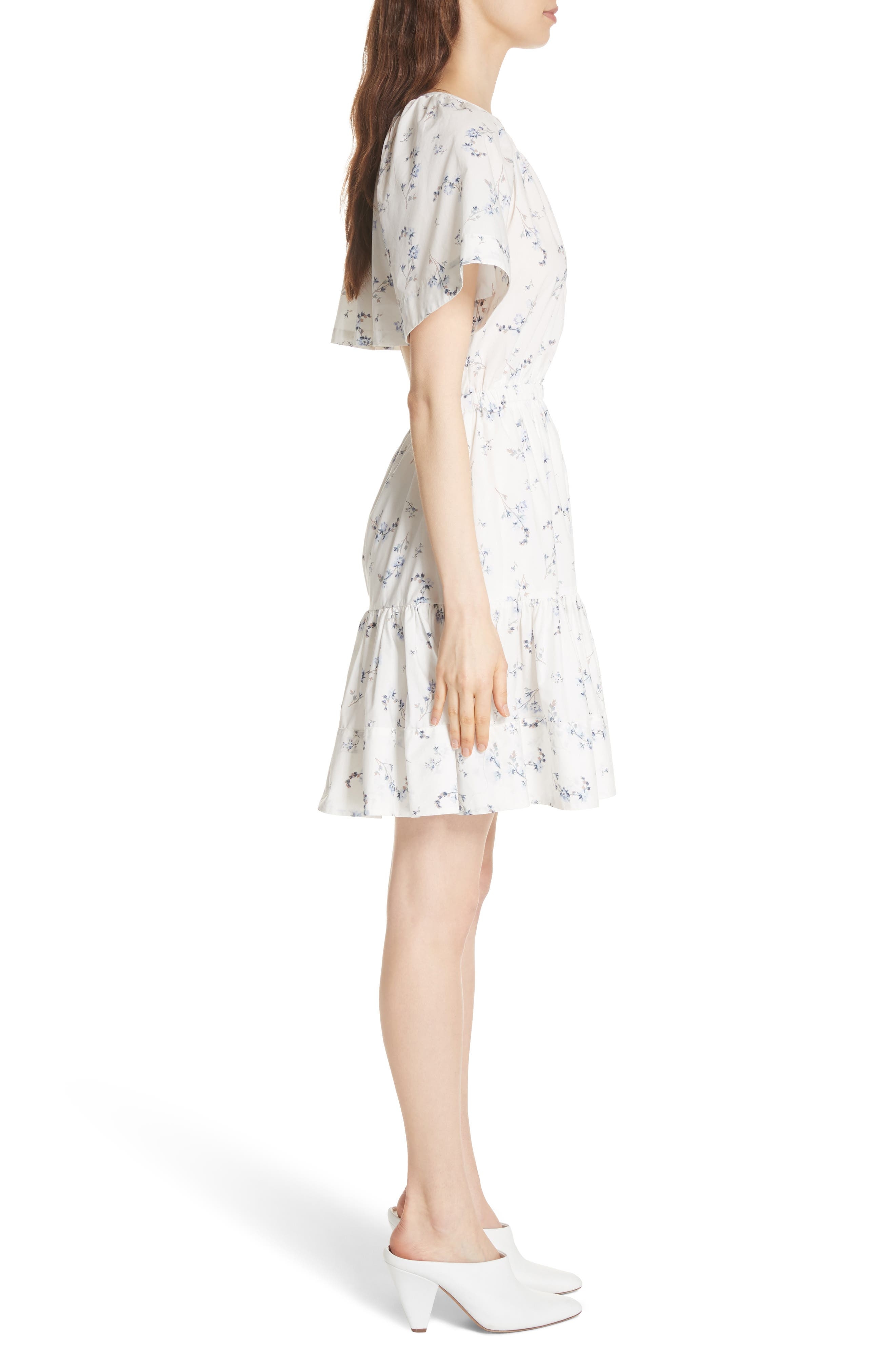 Francine Back Cutout Mini Dress,                             Alternate thumbnail 3, color,                             Snow Combo