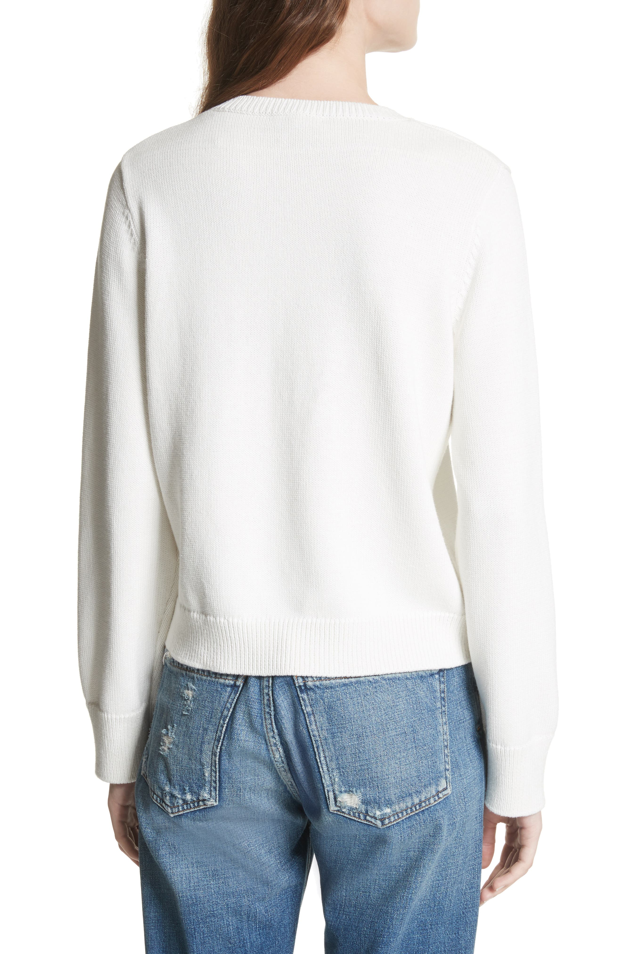 Barin Pineapple Cotton Sweater,                             Alternate thumbnail 2, color,                             Porcelain