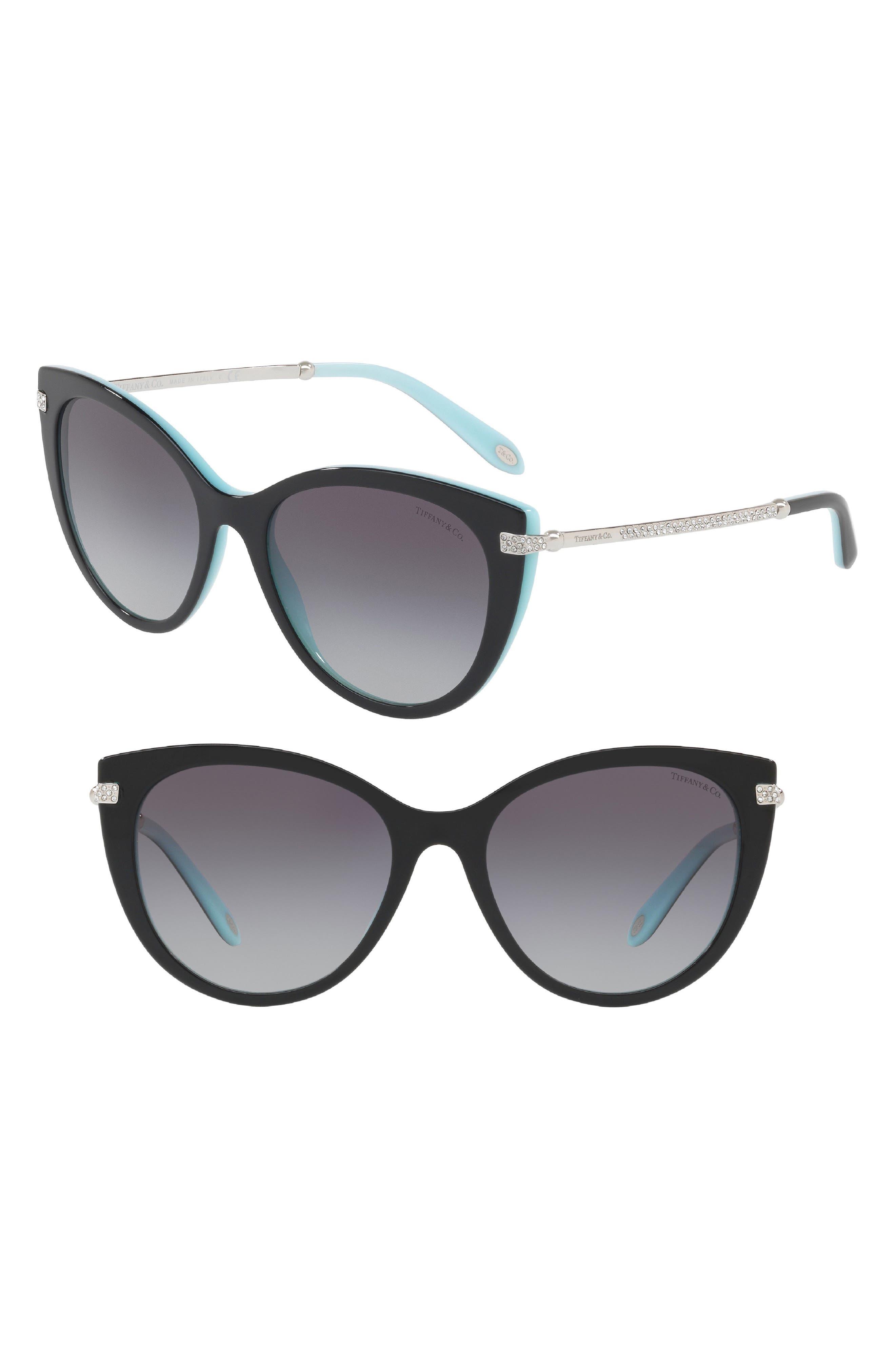 55mm Gradient Cat Eye Sunglasses,                             Main thumbnail 1, color,                             Black/ Blue Gradient