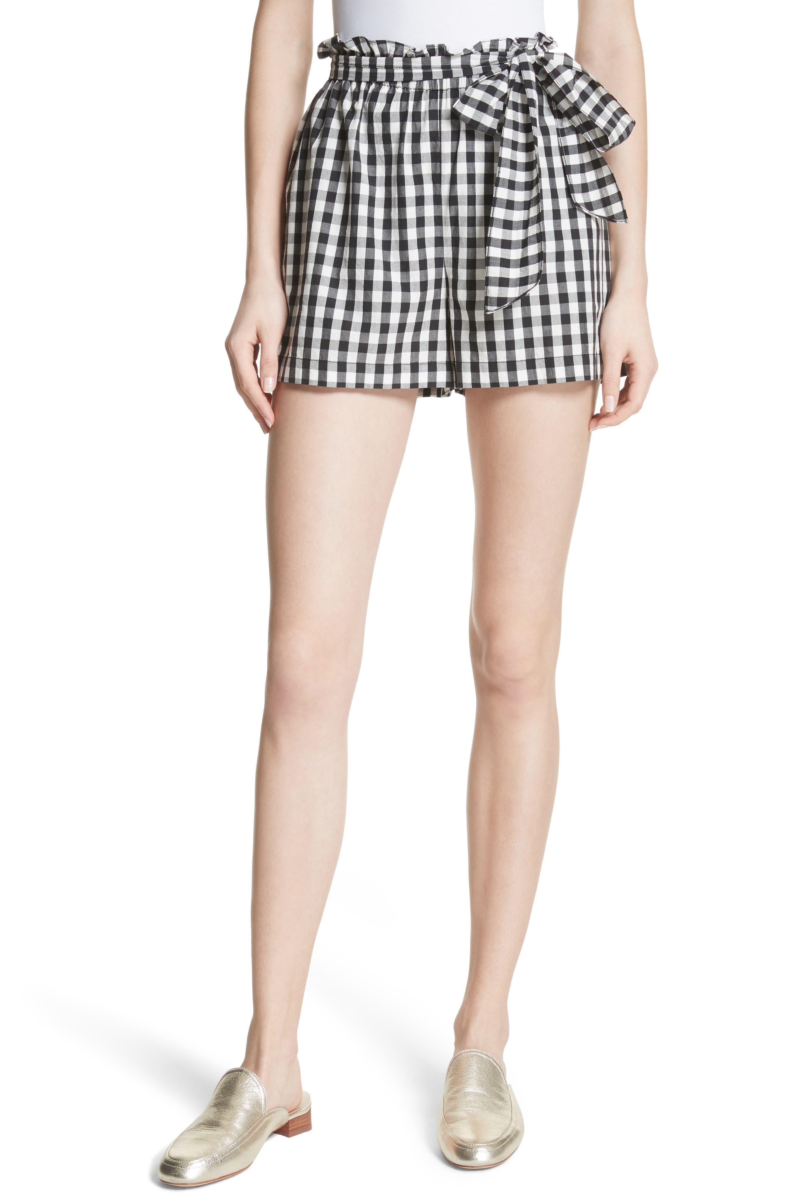 Cleantha Gingham Cotton Shorts,                             Main thumbnail 1, color,                             Caviar