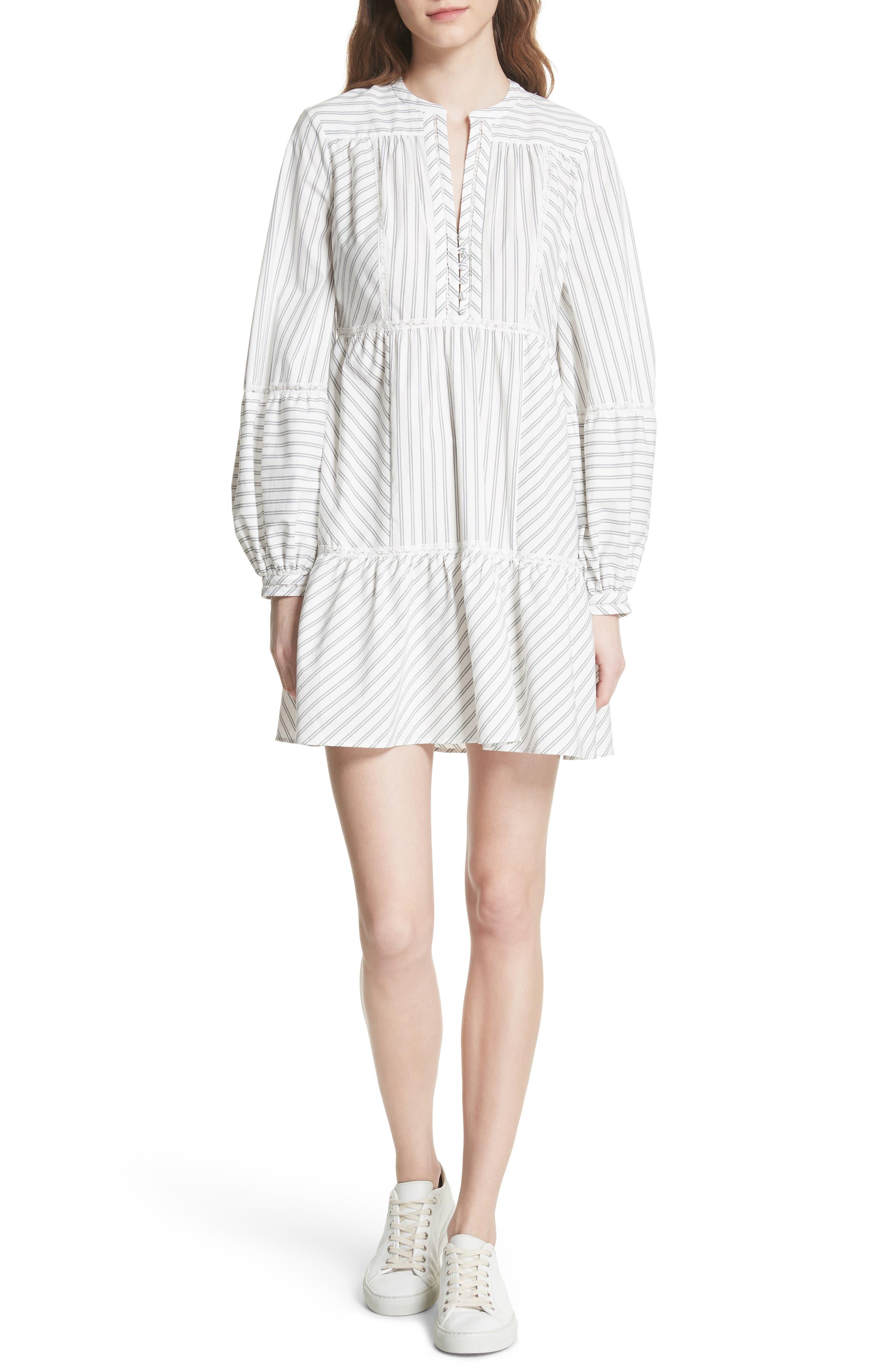 Marison Stripe A-Line Dress,                             Main thumbnail 1, color,                             Porcelain