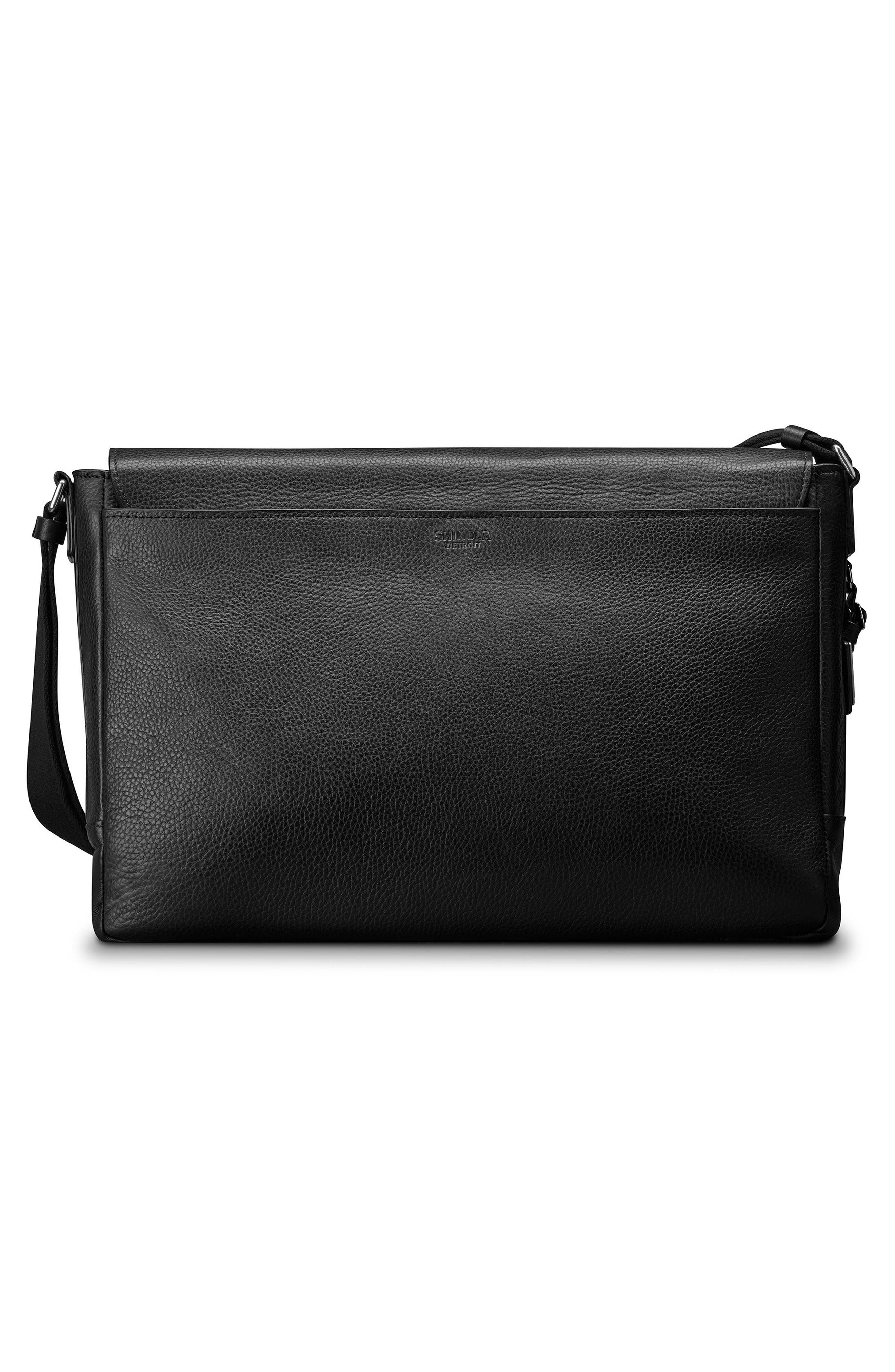 Luxe Grain Canfield Leather Messenger Bag,                             Alternate thumbnail 2, color,                             Black