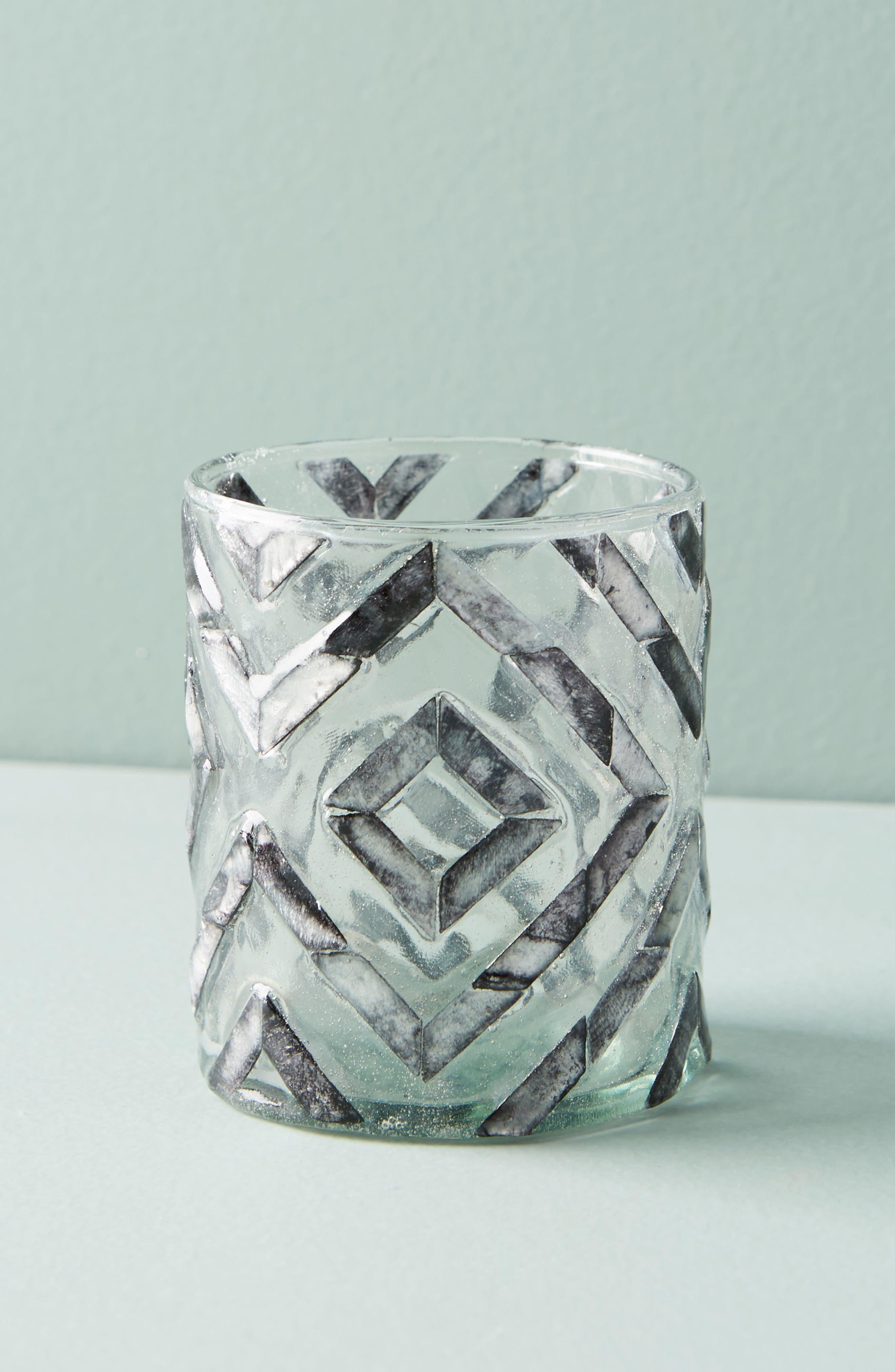 Herringbone Capiz Votive Candleholder,                             Main thumbnail 1, color,                             Dark Grey