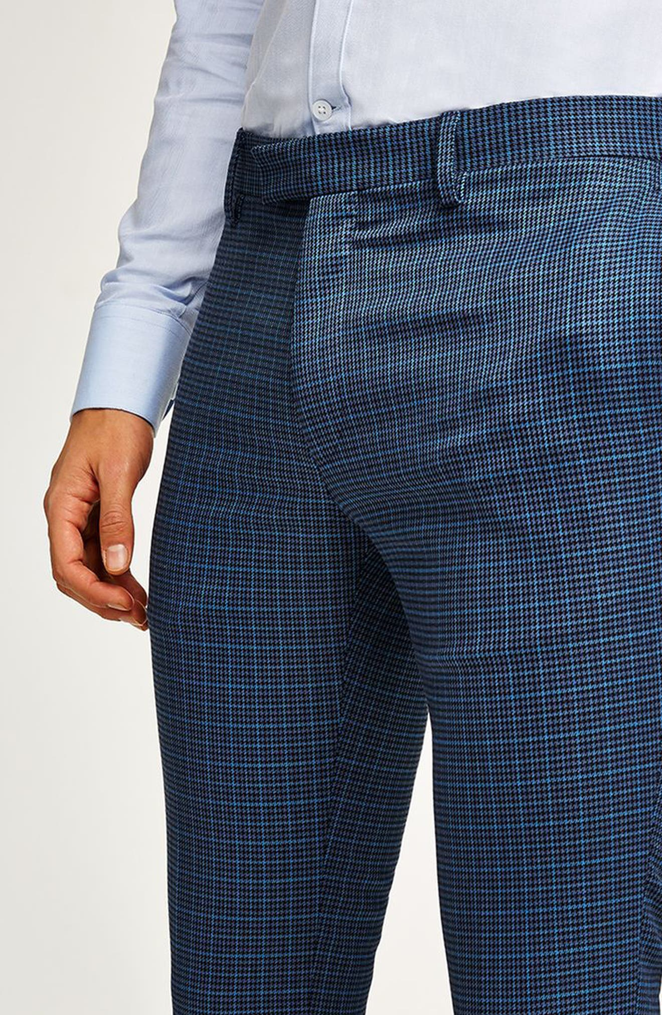 Check Skinny Fit Suit Trousers,                             Alternate thumbnail 3, color,                             Mid Blue Multi