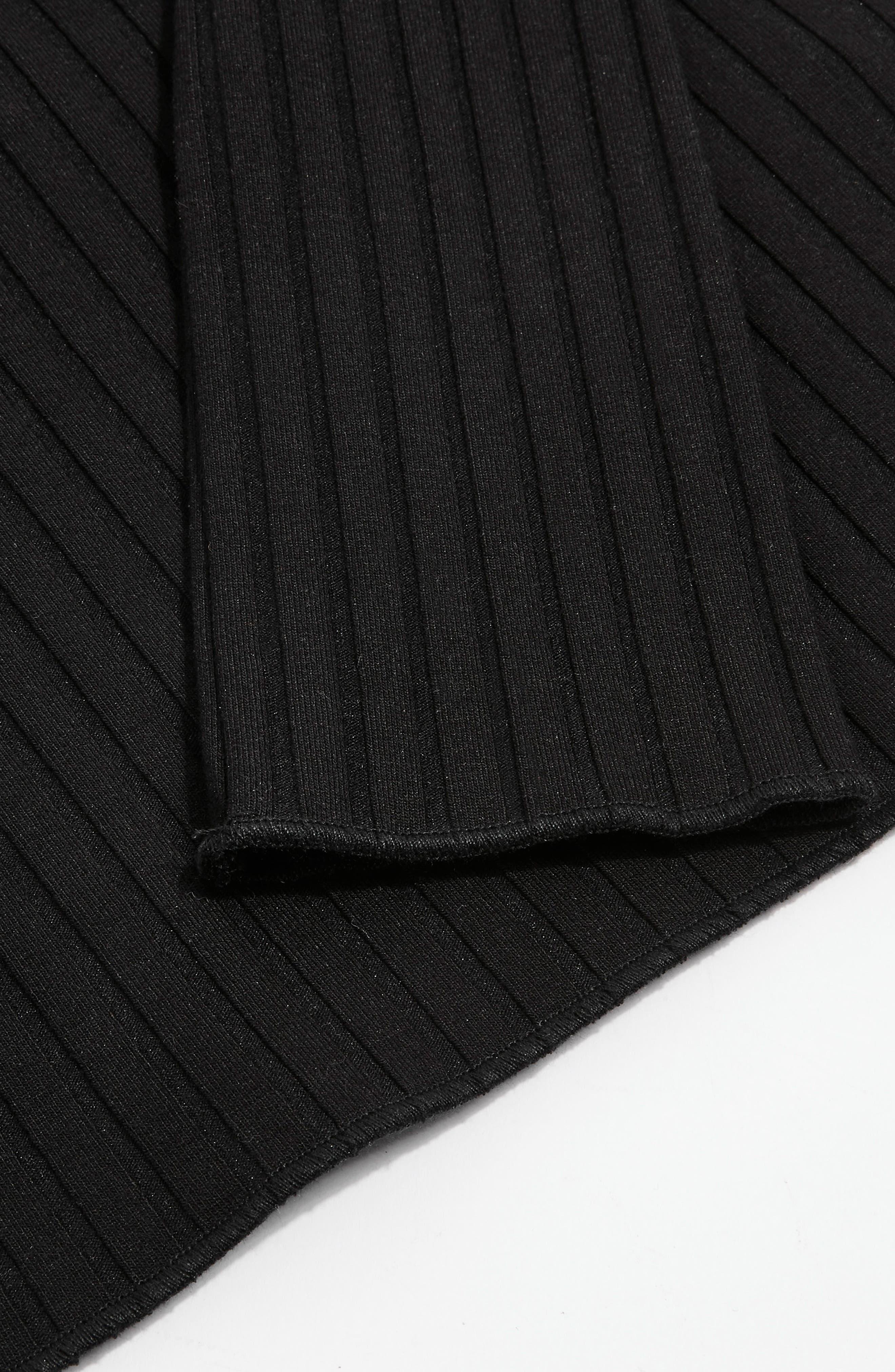 Fold Neck Rib Shirt,                             Alternate thumbnail 5, color,                             Black