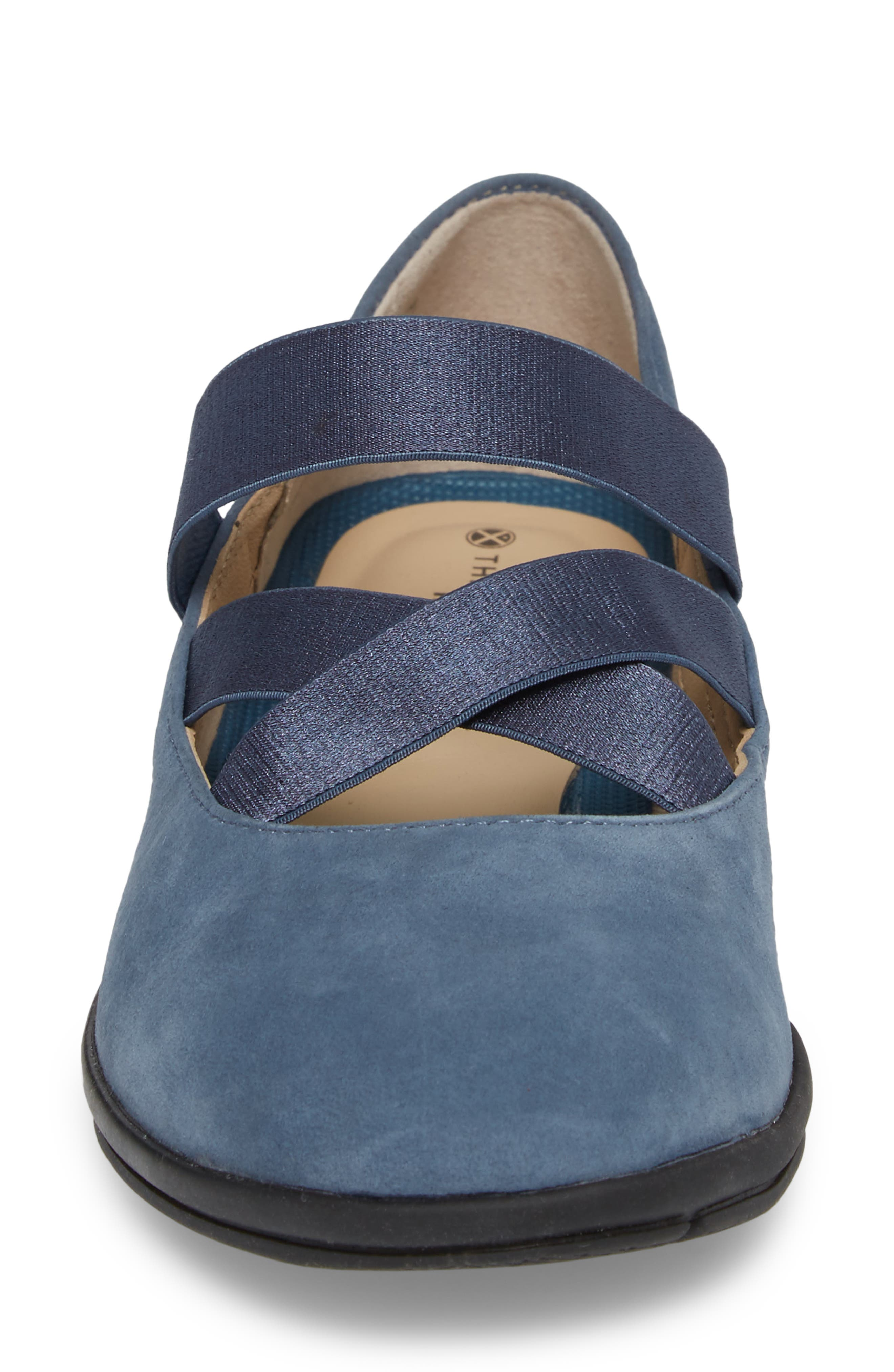 Meree Madrine Cross Strap Flat,                             Alternate thumbnail 4, color,                             Vintage Indigo Nubuck Leather