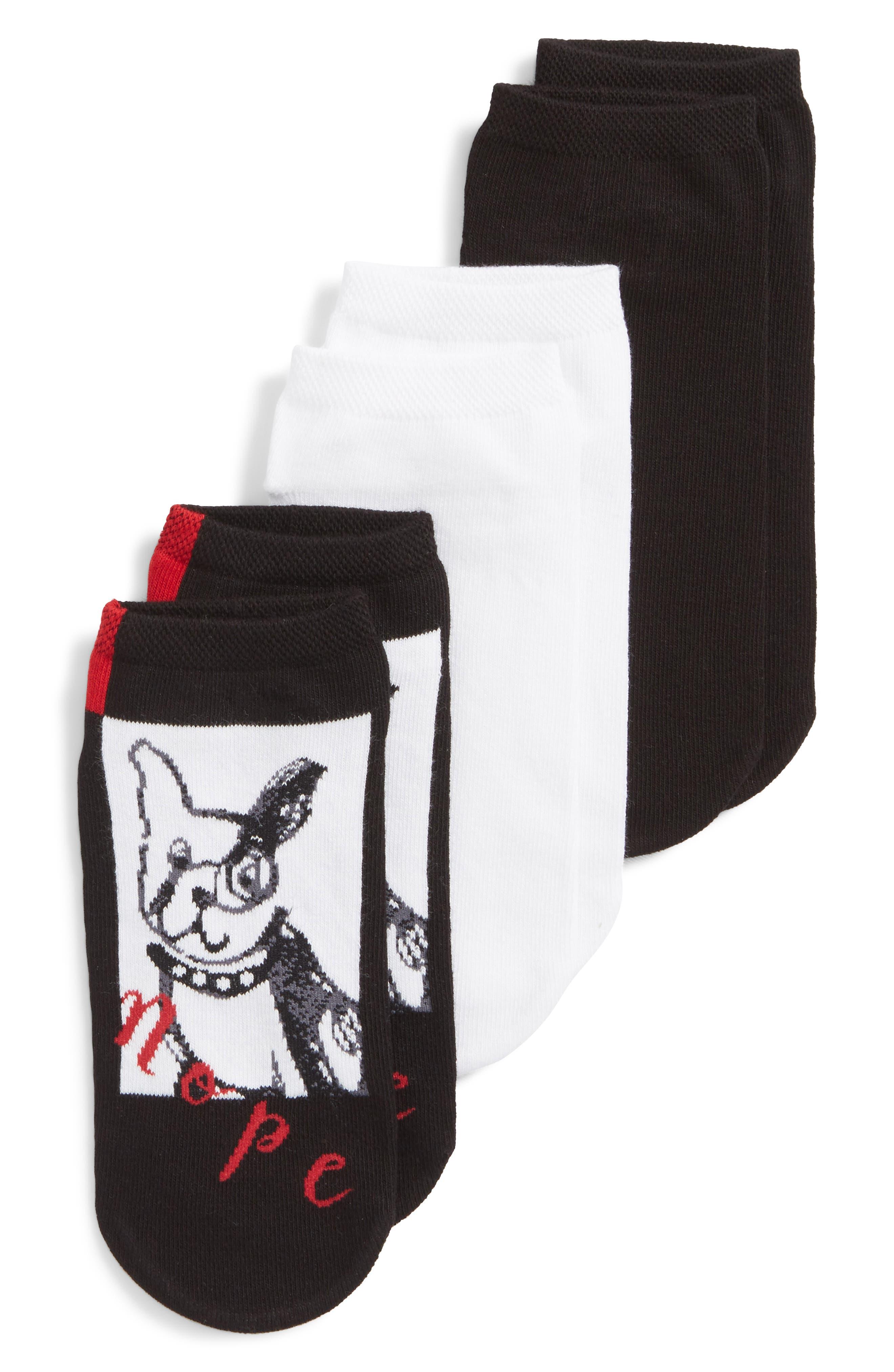 Stubborn Dog 3-Pack Socks,                             Main thumbnail 1, color,                             Black