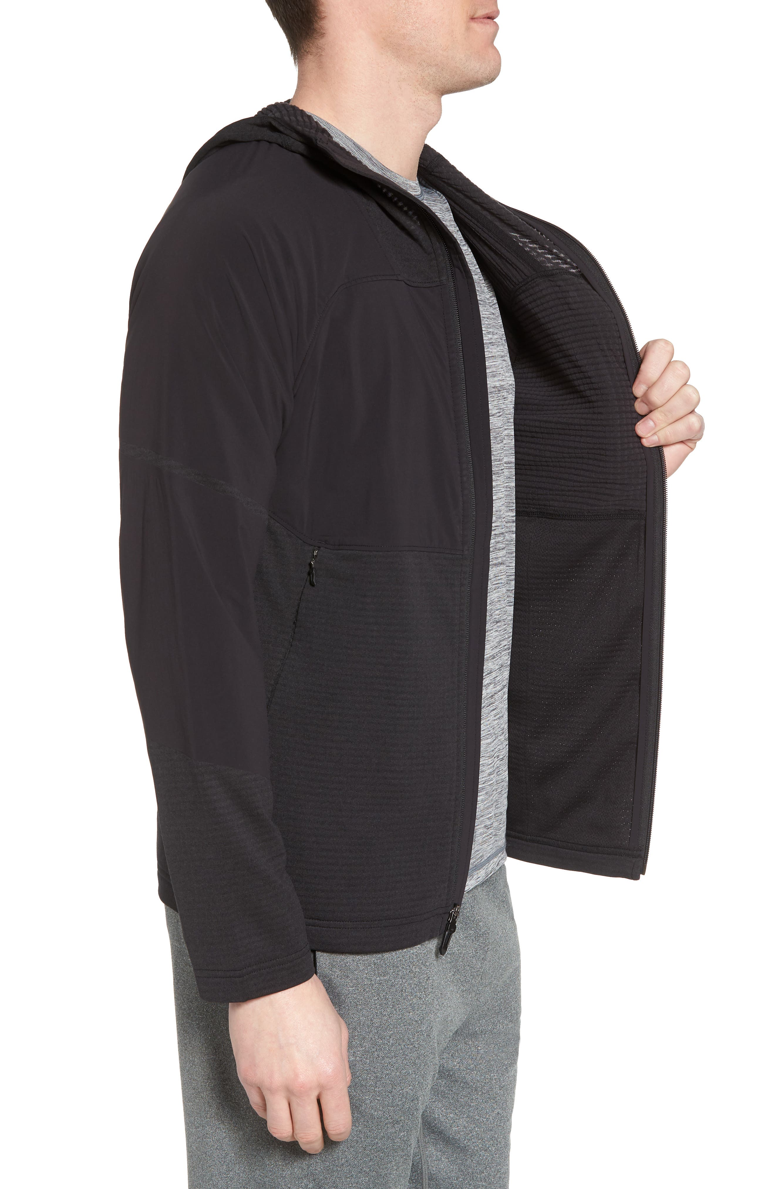 Progressor Power Grid<sup>™</sup> Hooded Fleece Jacket,                             Alternate thumbnail 3, color,                             Black/ Black