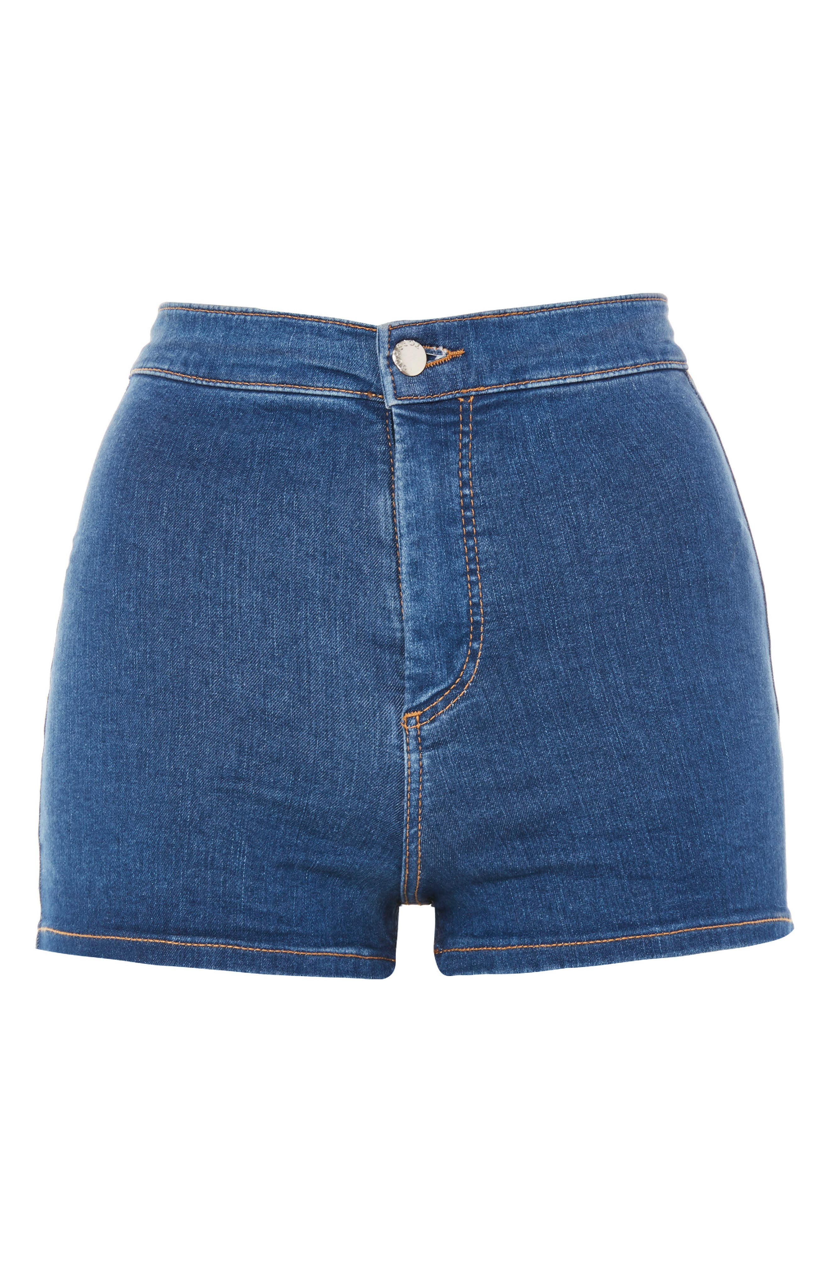 MOTO Joni Mid Denim Shorts,                             Alternate thumbnail 4, color,                             Mid Denim