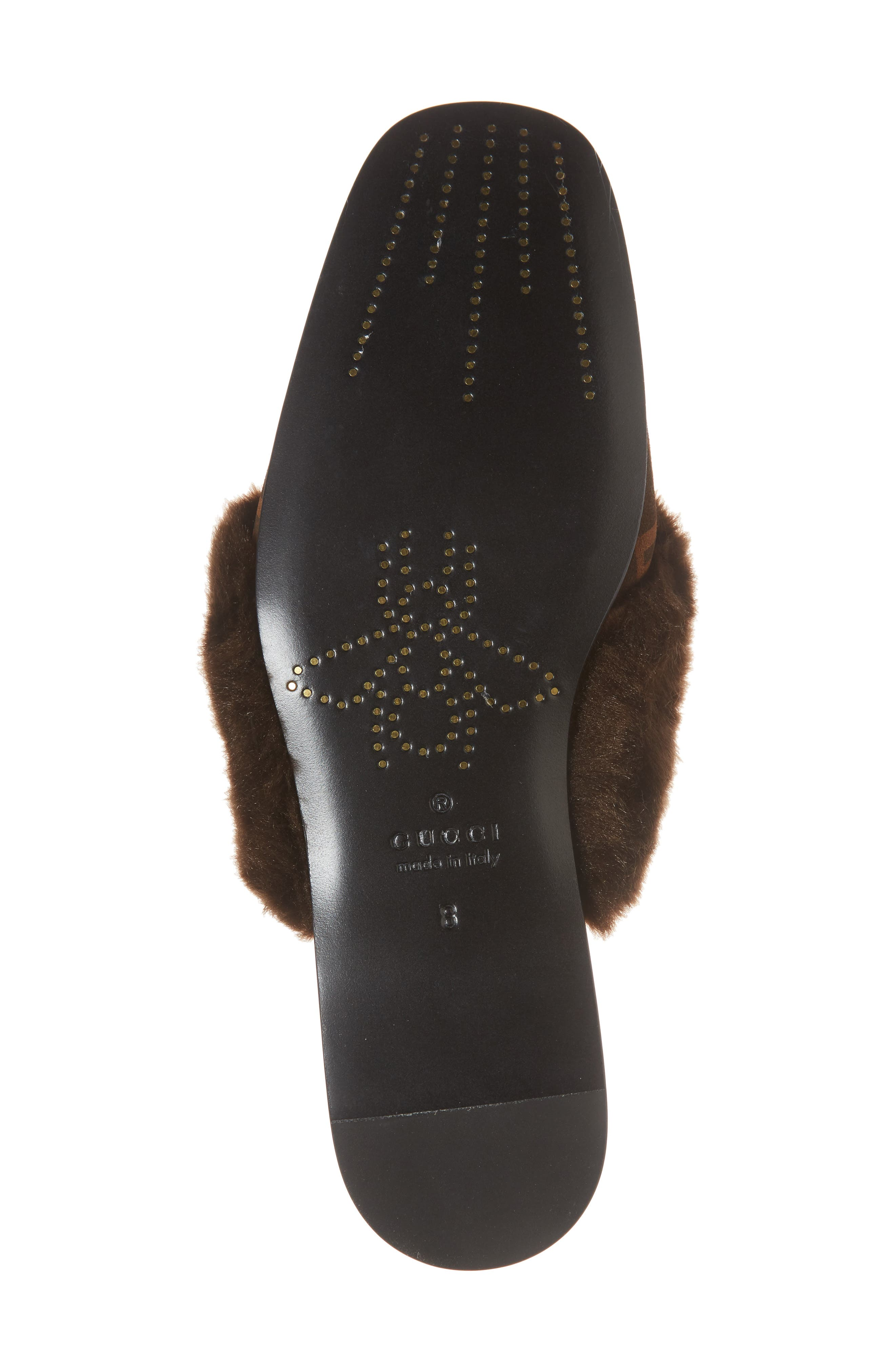 Lawrence Square-G Faux Fur Slipper,                             Alternate thumbnail 6, color,                             Brown/ Sigaro