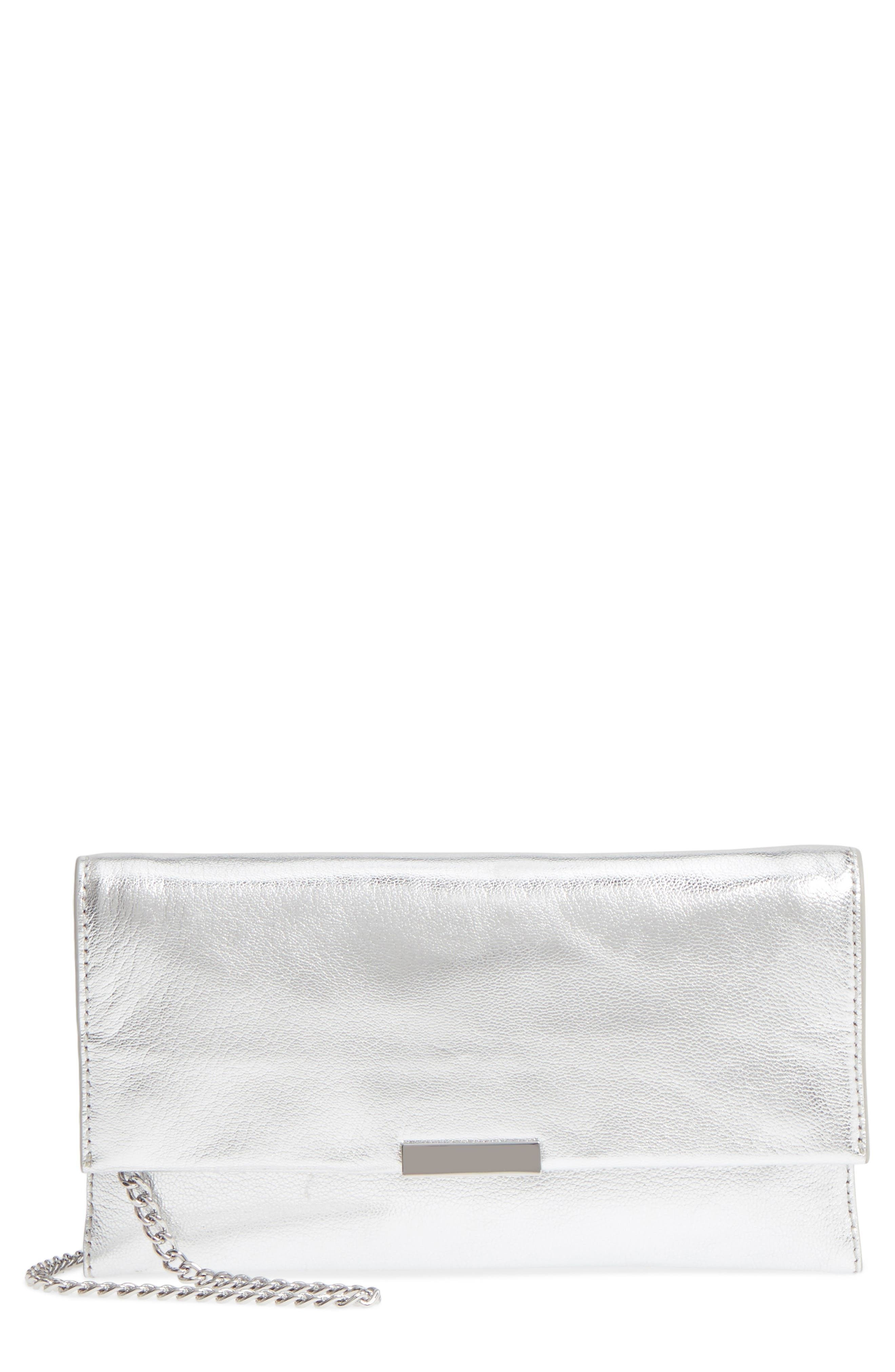 Leather Tab Clutch,                         Main,                         color, Silver