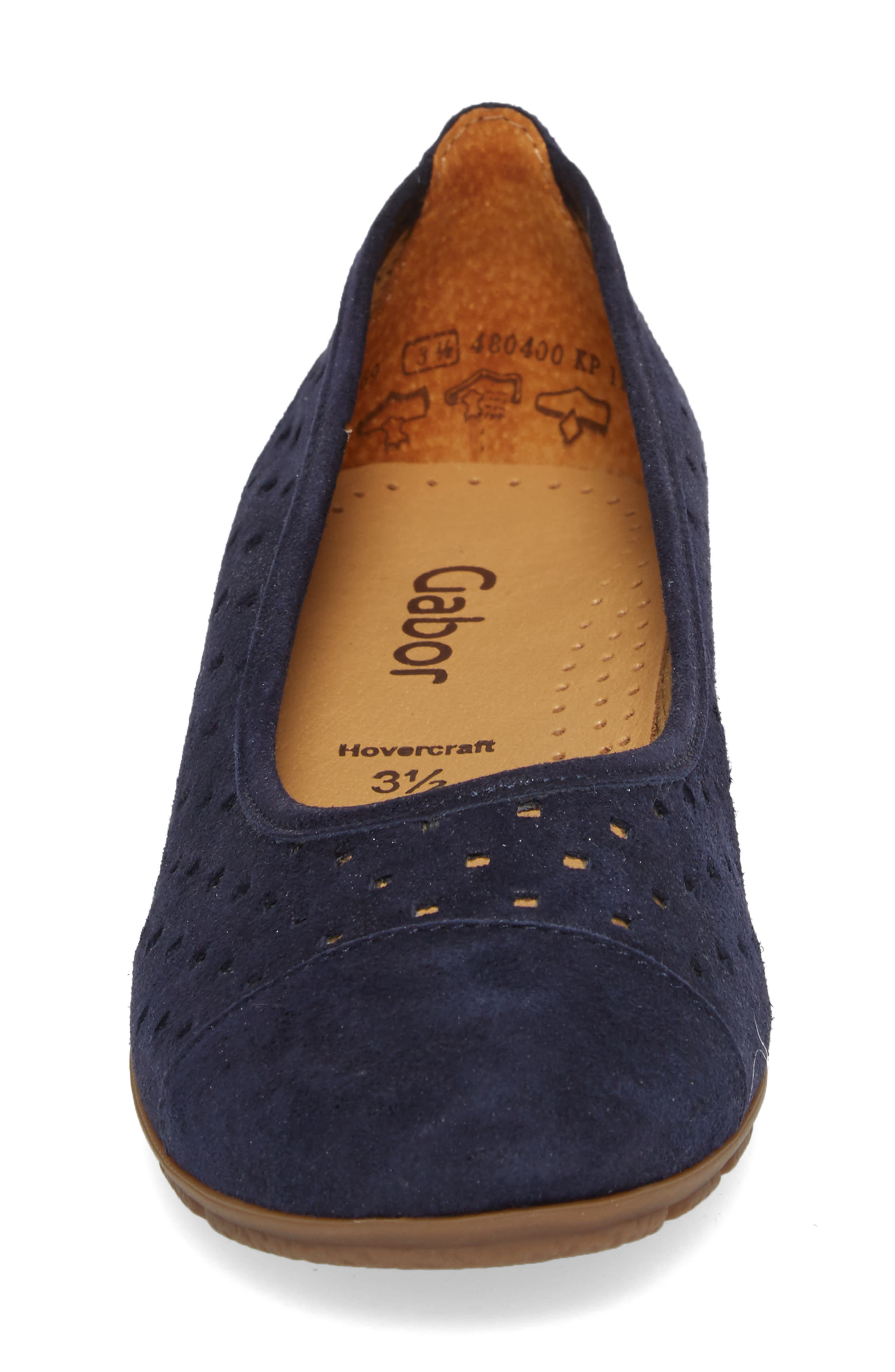 Perforated Ballet Flat,                             Alternate thumbnail 4, color,                             Blue Metallic Leather