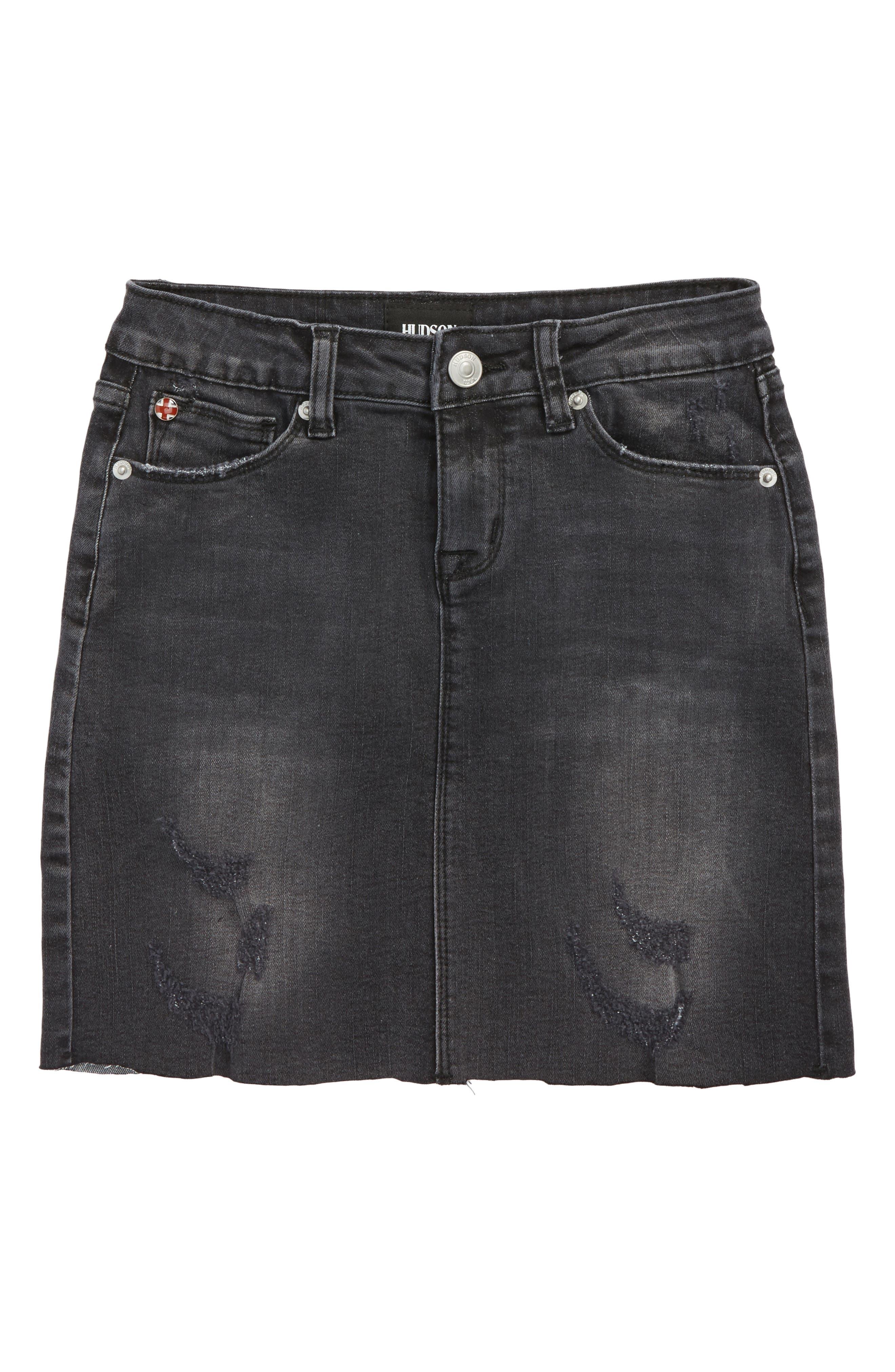 Tara Cutoff Denim Skirt,                         Main,                         color, Black Wash