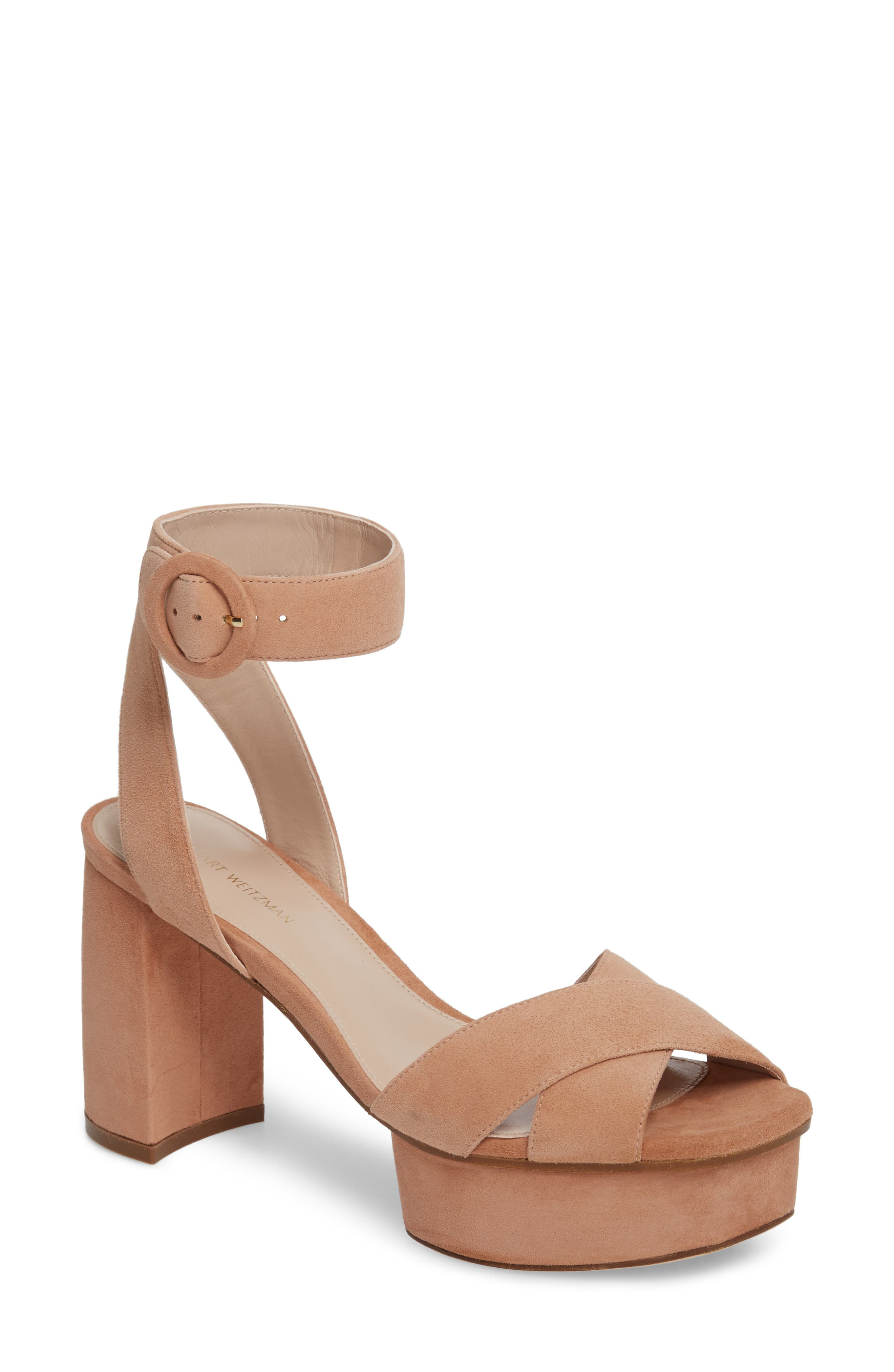 Carmina Ankle Strap Platform Sandal,                         Main,                         color, Naked Seda Suede