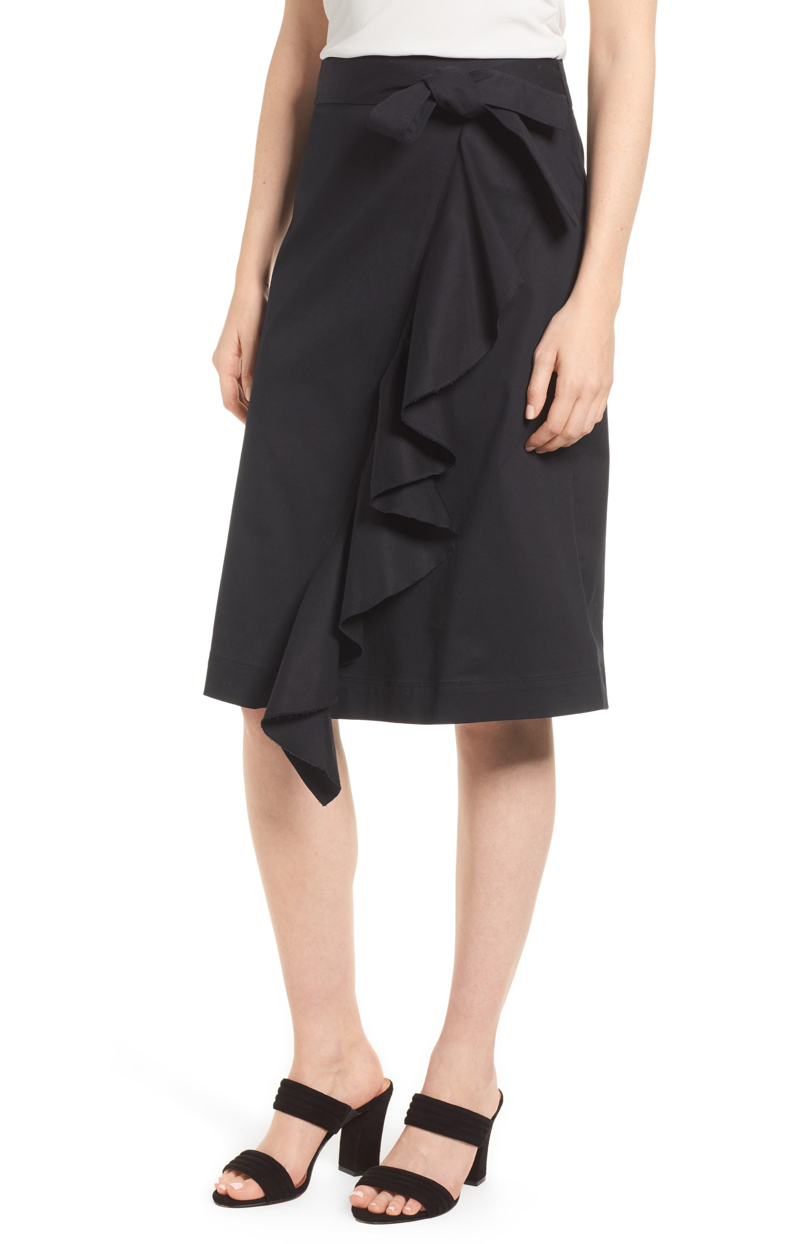 Halogen® Ruffle Front Wrap Skirt (Regular & Petite)
