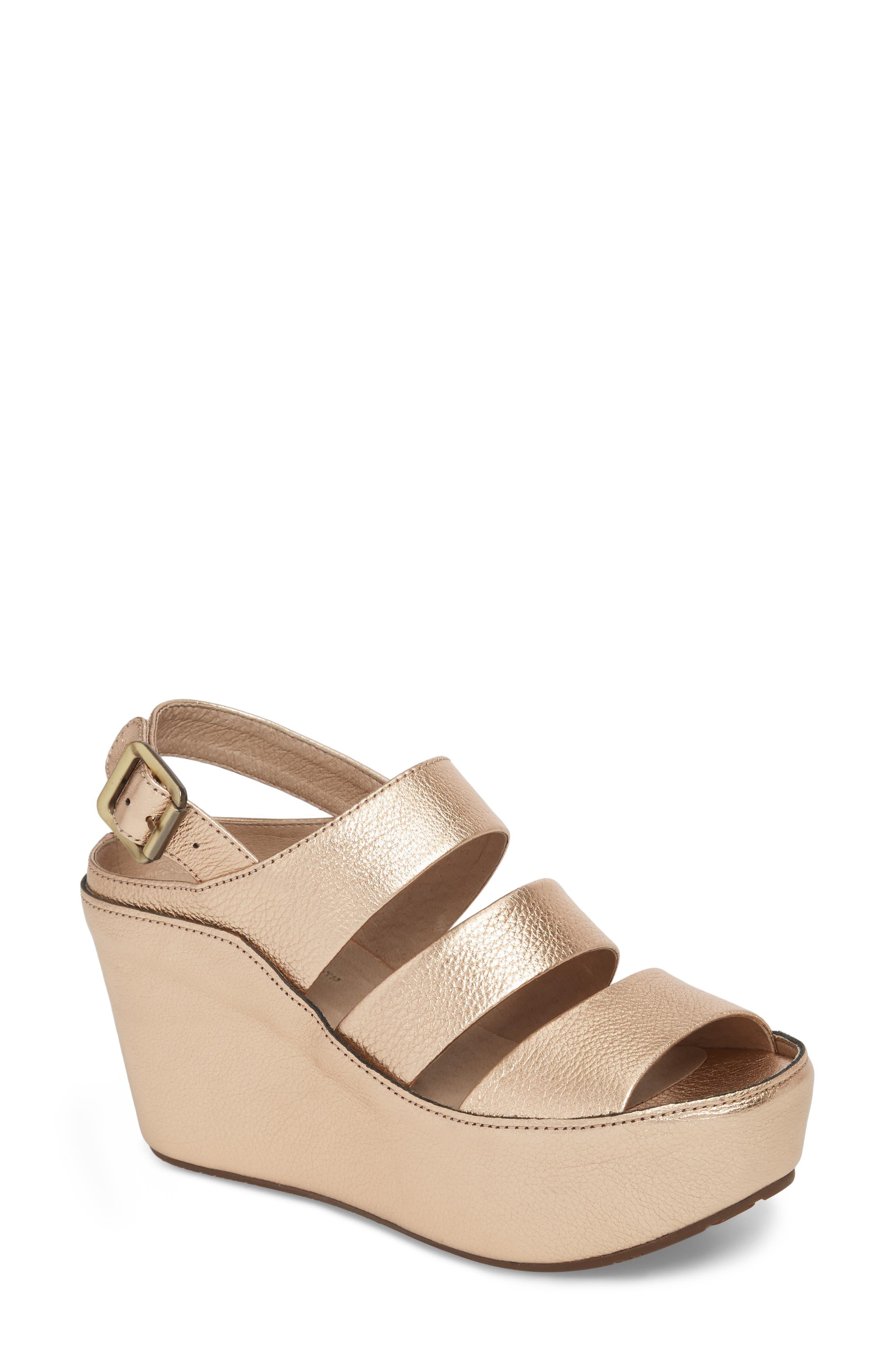 Windsor Platform Wedge Sandal,                             Main thumbnail 1, color,                             Rose Gold Leather