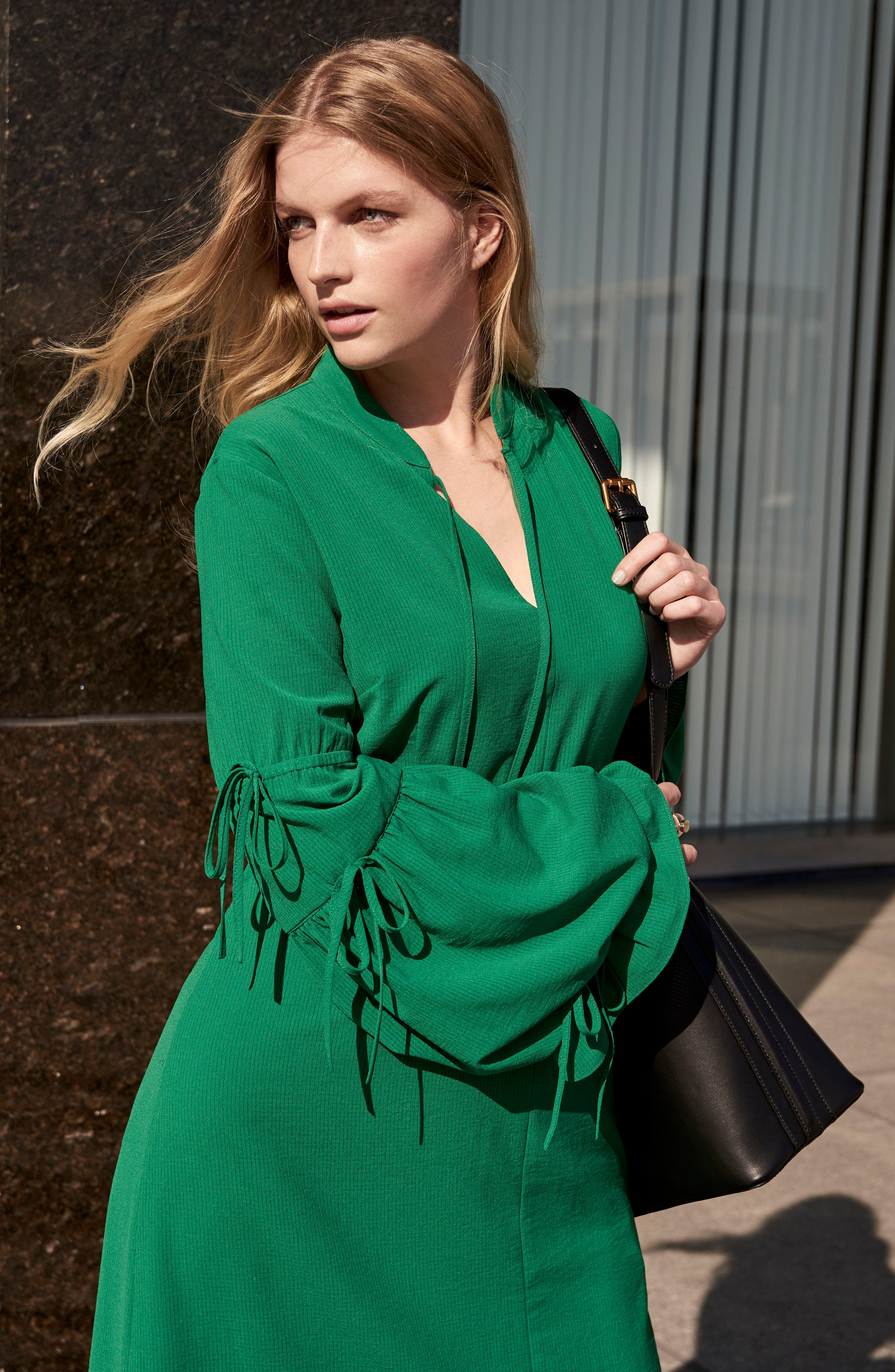 Leiko Antoinette Puff Sleeve Tea Dress,                             Alternate thumbnail 2, color,                             Green