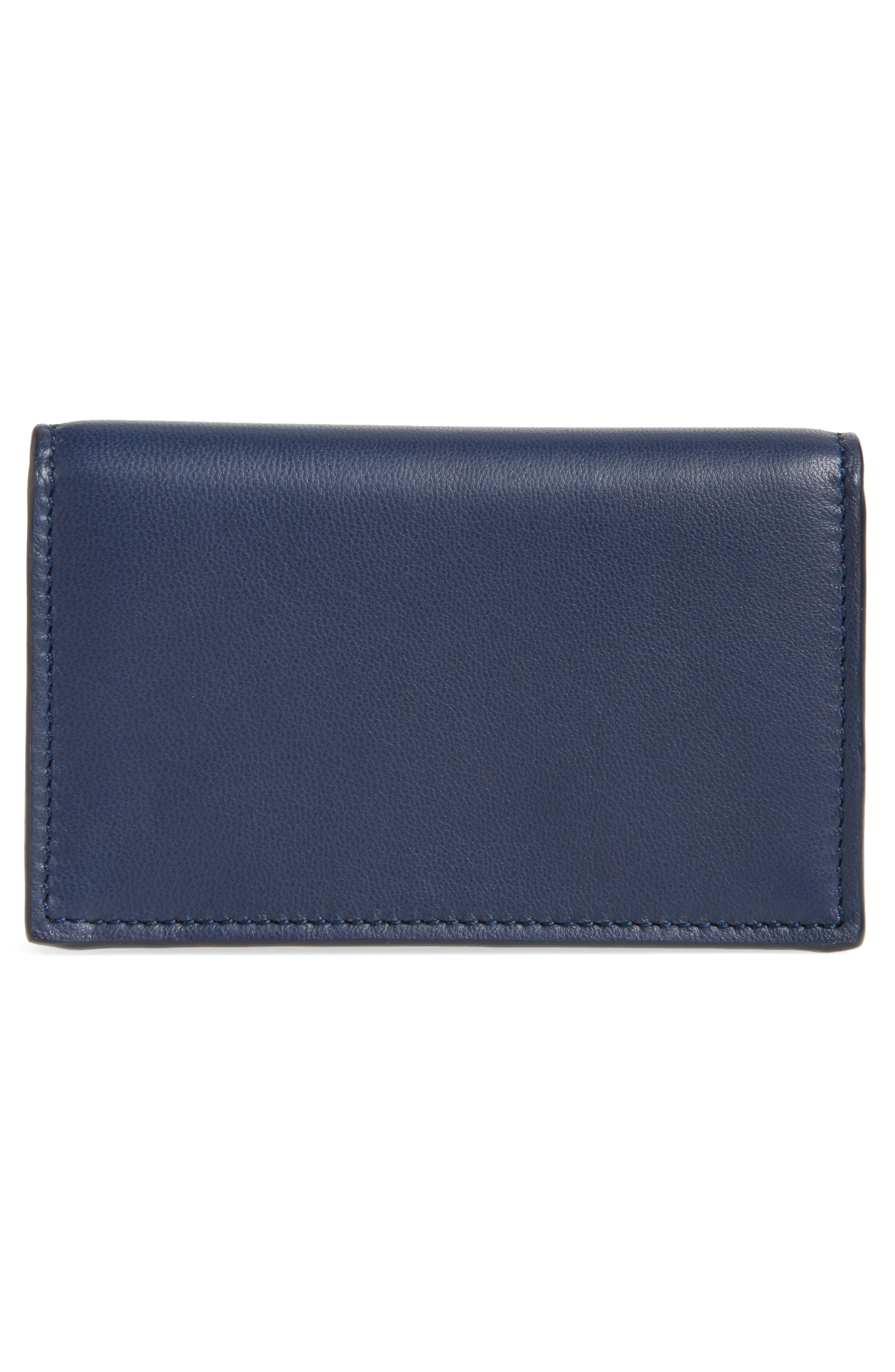 Calfskin Leather Business Card Case,                             Alternate thumbnail 2, color,                             Navy