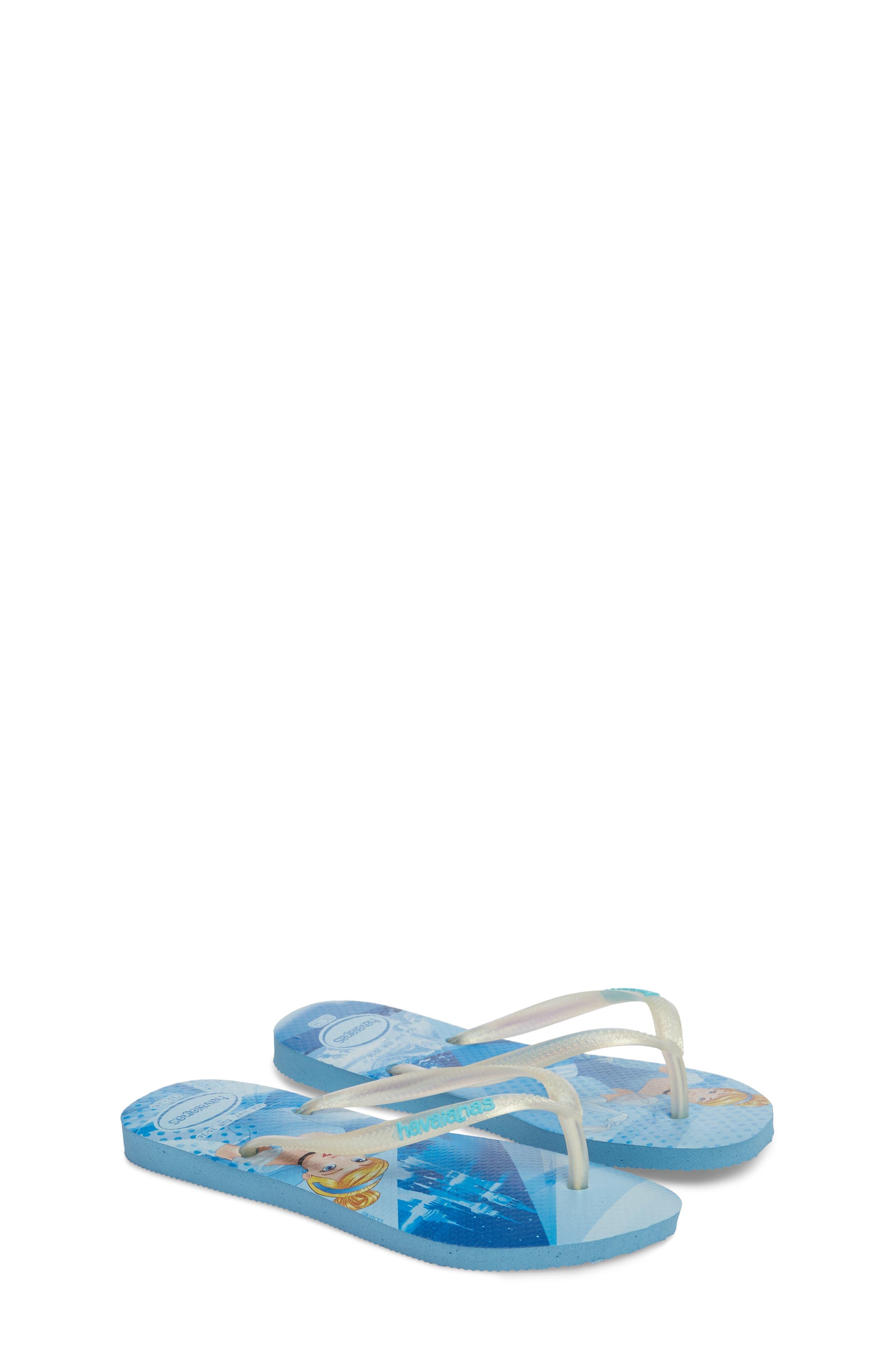 'Disney Princess' Flip Flops,                             Alternate thumbnail 3, color,                             Blue Splash