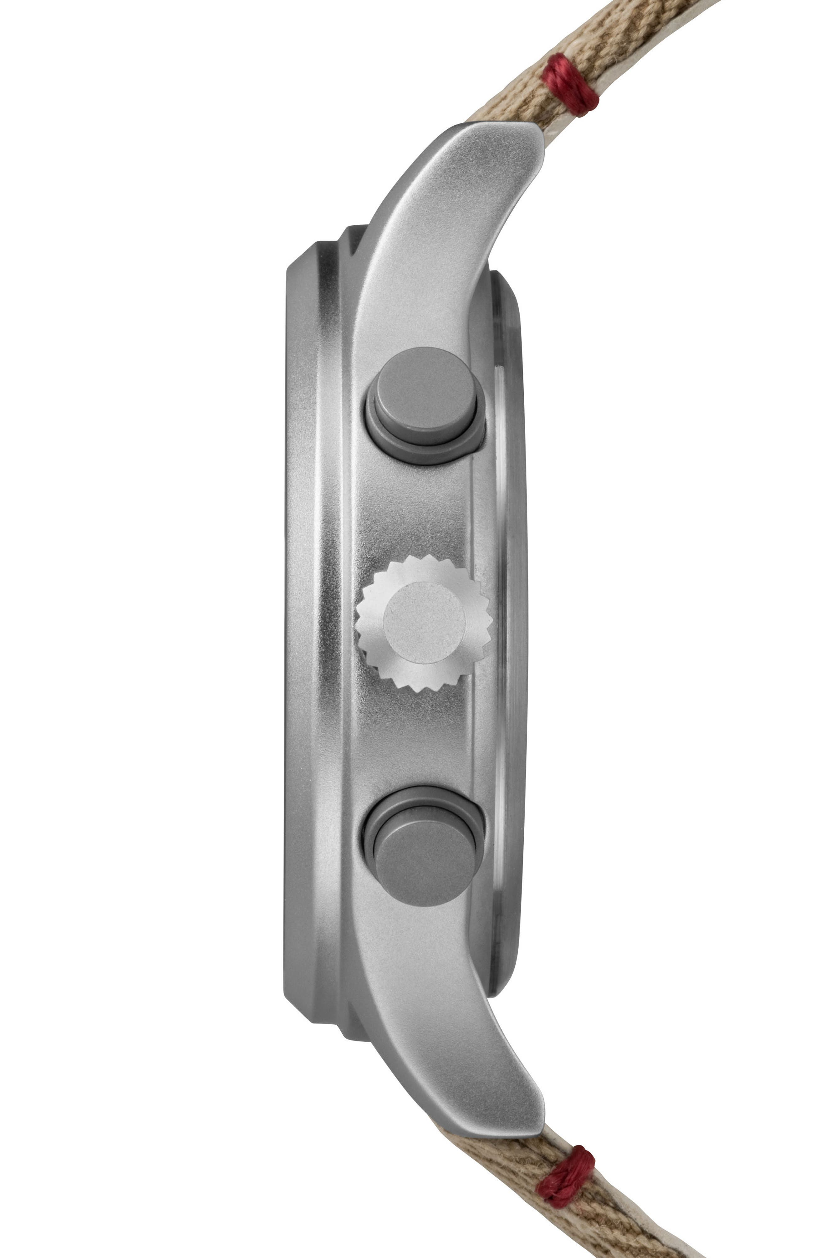 Allied Canvas Strap Watch, 42mm,                             Alternate thumbnail 3, color,                             Khaki/ Beige/ Silver