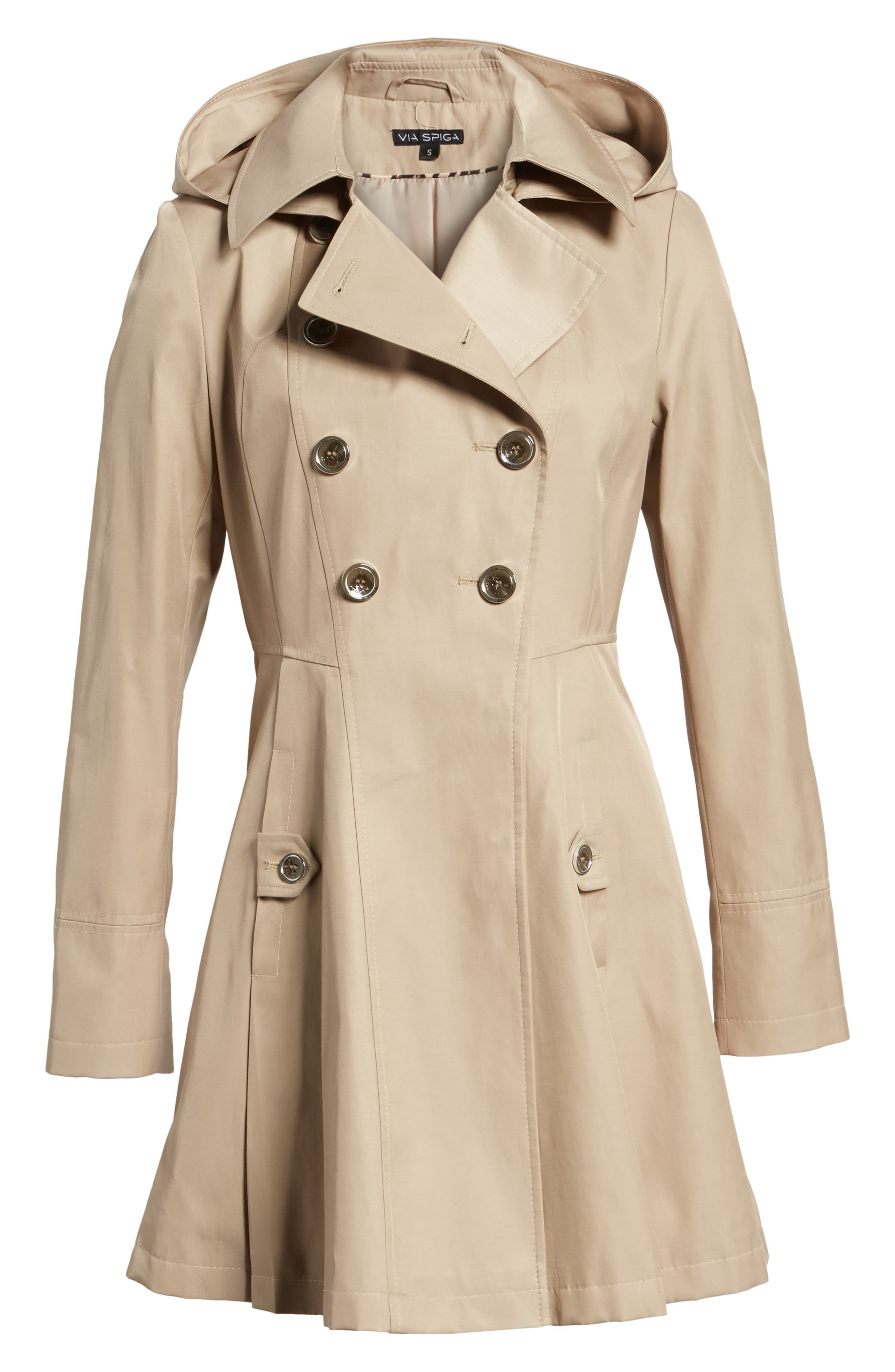 Double Breasted Fit & Flare Trench Coat,                             Alternate thumbnail 7, color,                             Sand