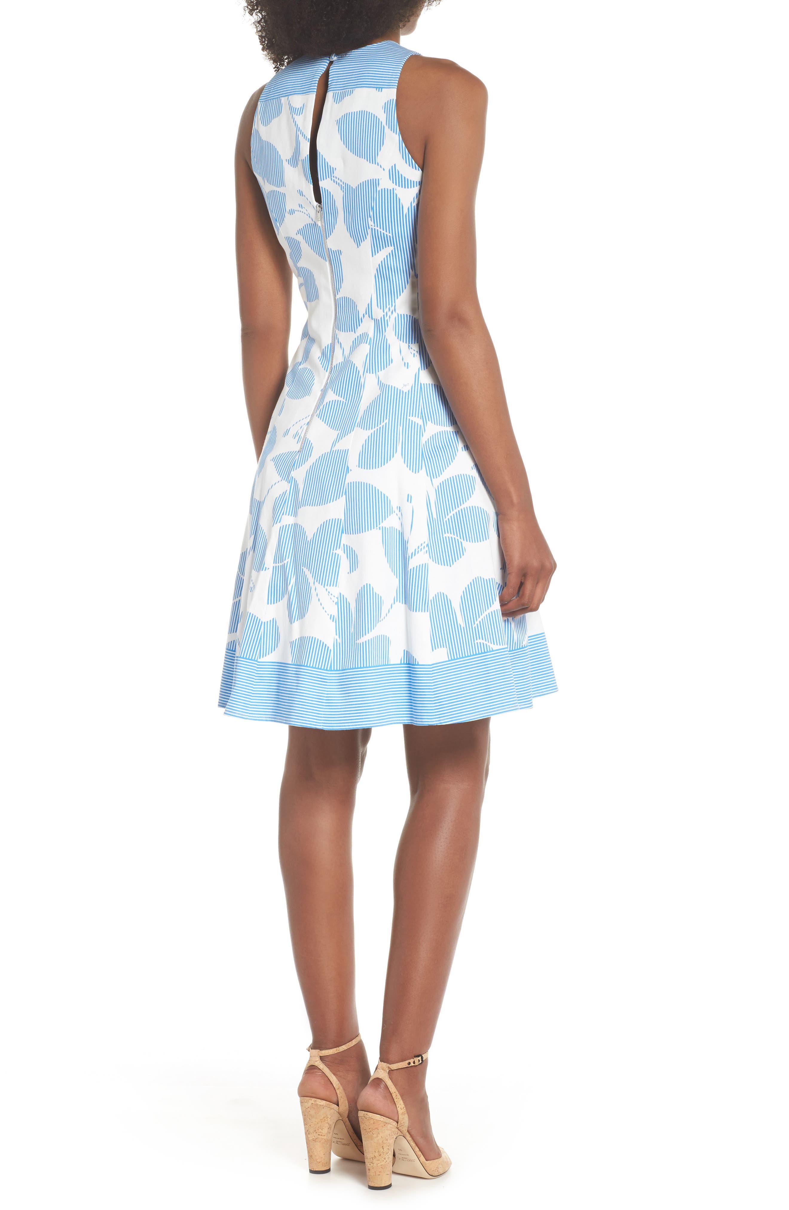 Print Fit & Flare Dress,                             Alternate thumbnail 2, color,                             Soft White/ Sky Blue