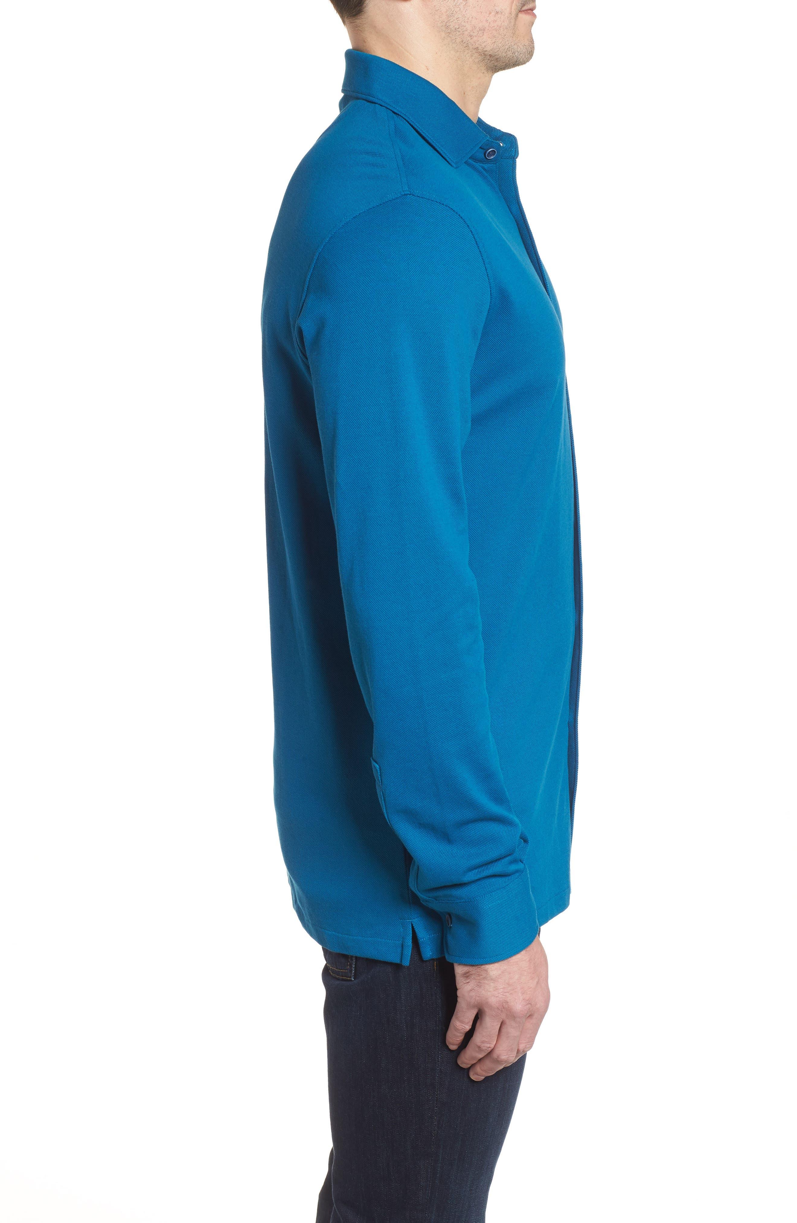Regular Fit Knit Sport Shirt,                             Alternate thumbnail 3, color,                             Teal