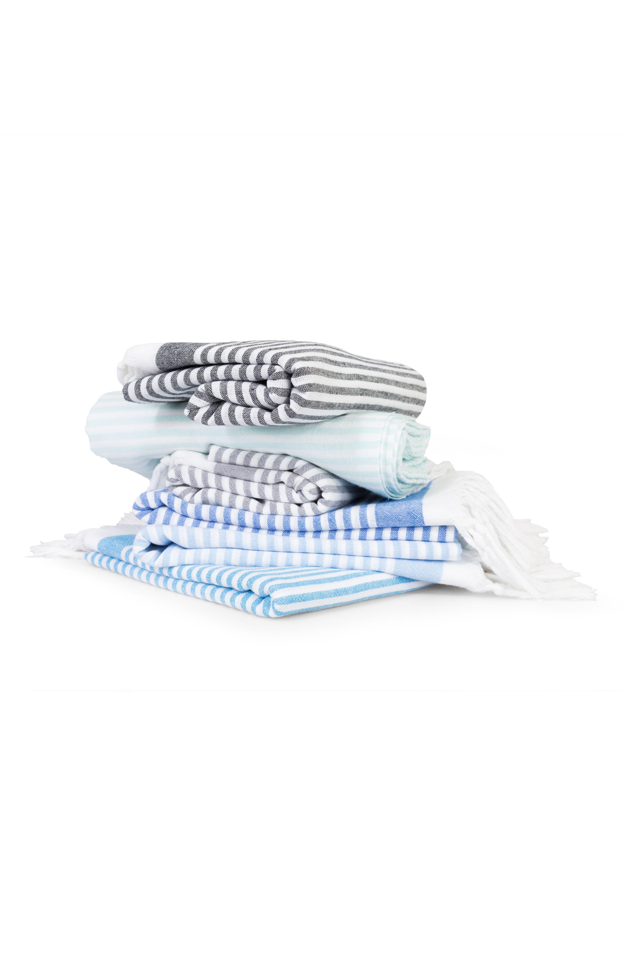 Soft Stripes Turkish Pestemal Towel,                             Alternate thumbnail 3, color,                             Sky Blue