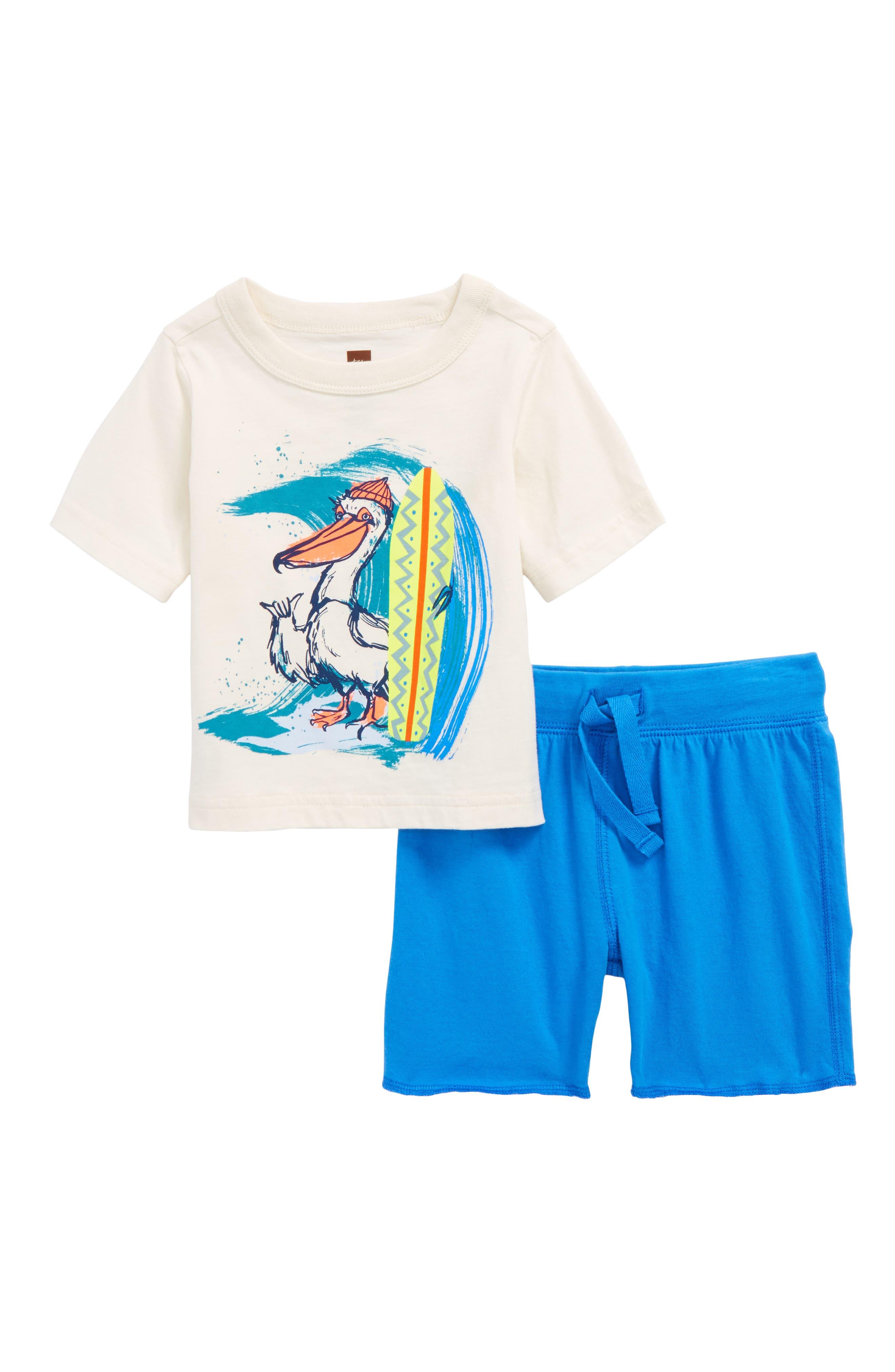 Surfing Pelican T-Shirt & Knit Shorts Set,                             Main thumbnail 1, color,                             Chalk