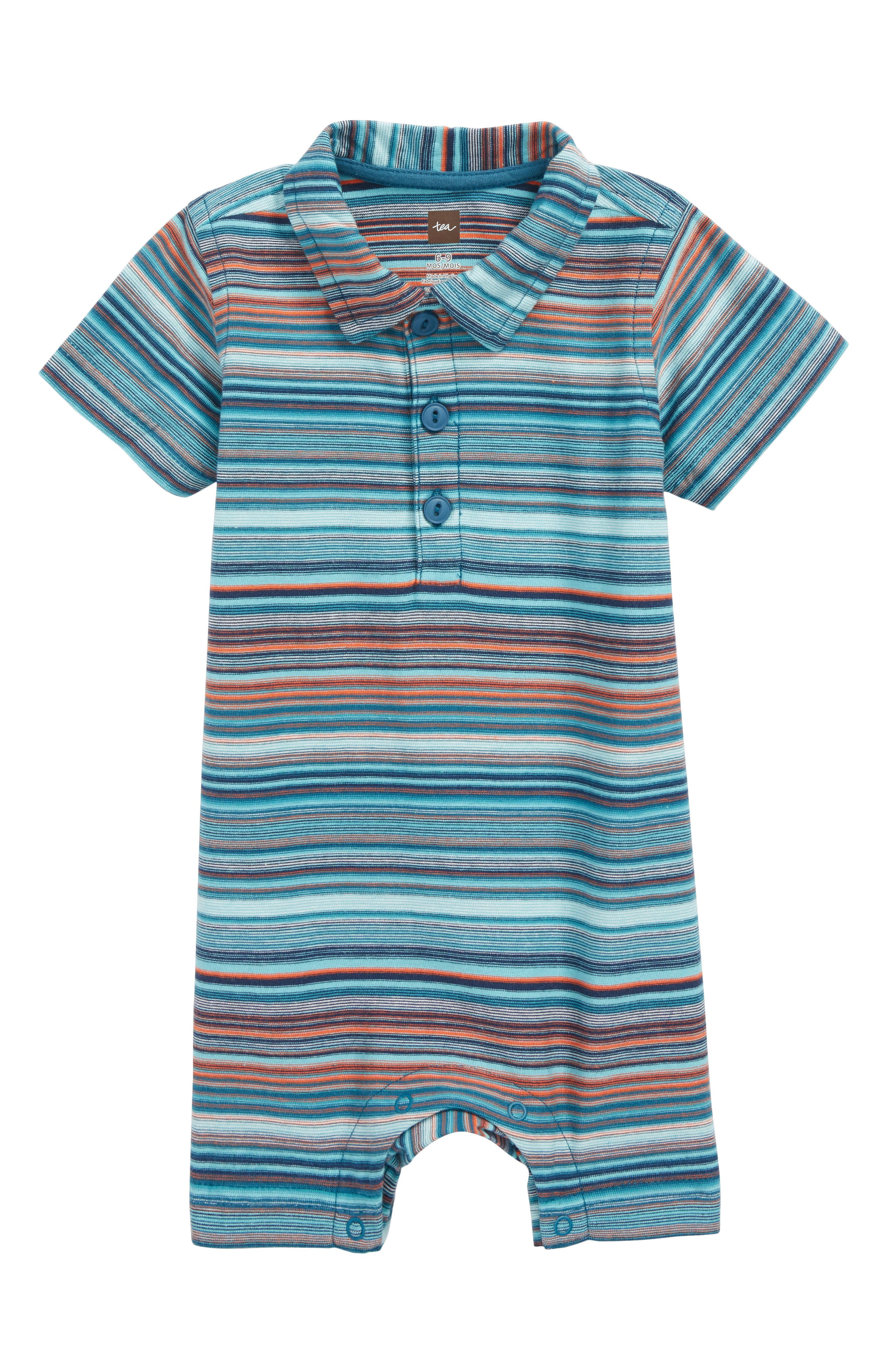 Stripe Polo Romper,                             Main thumbnail 1, color,                             Pagoda Blue