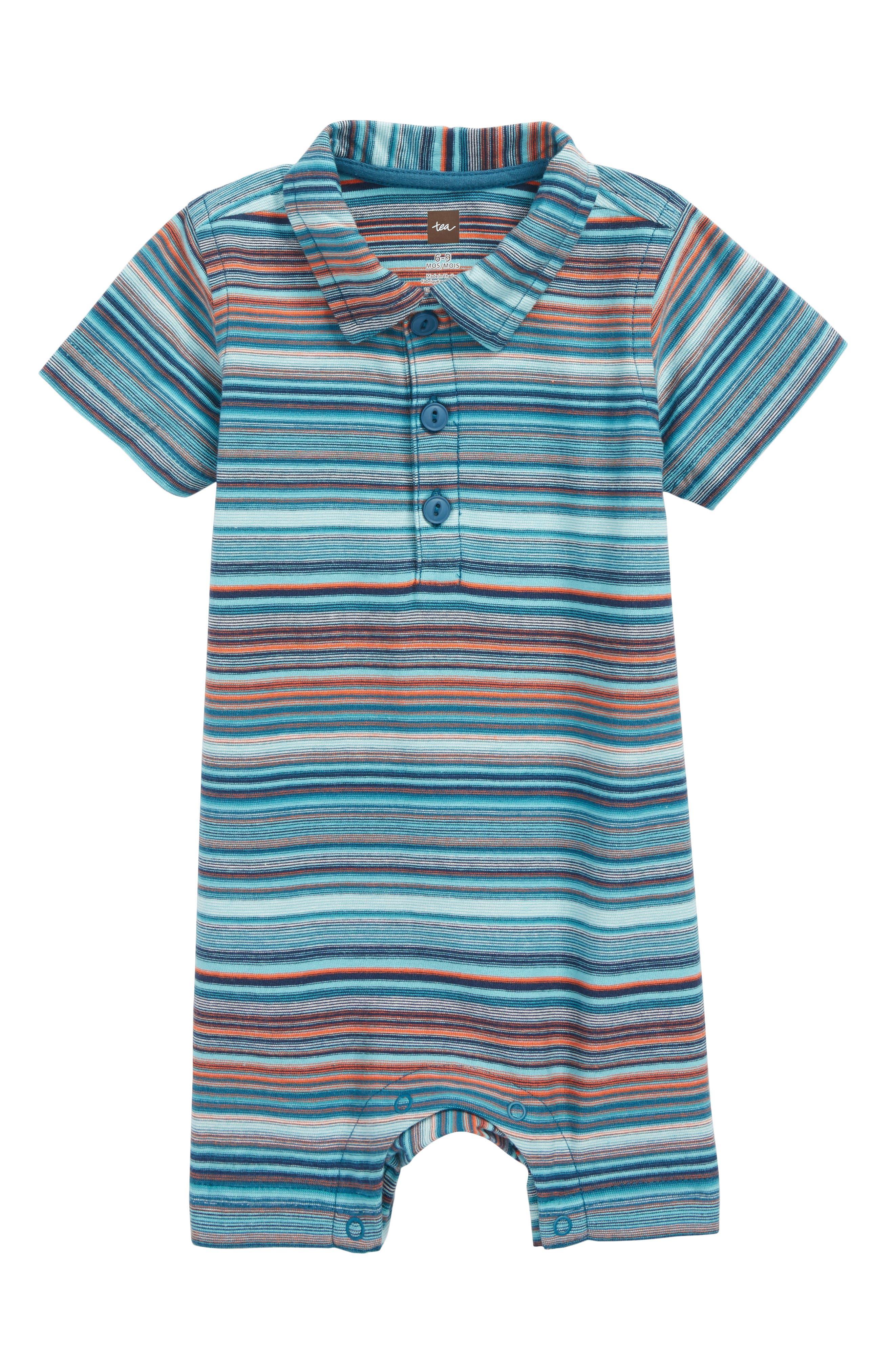 Stripe Polo Romper,                         Main,                         color, Pagoda Blue