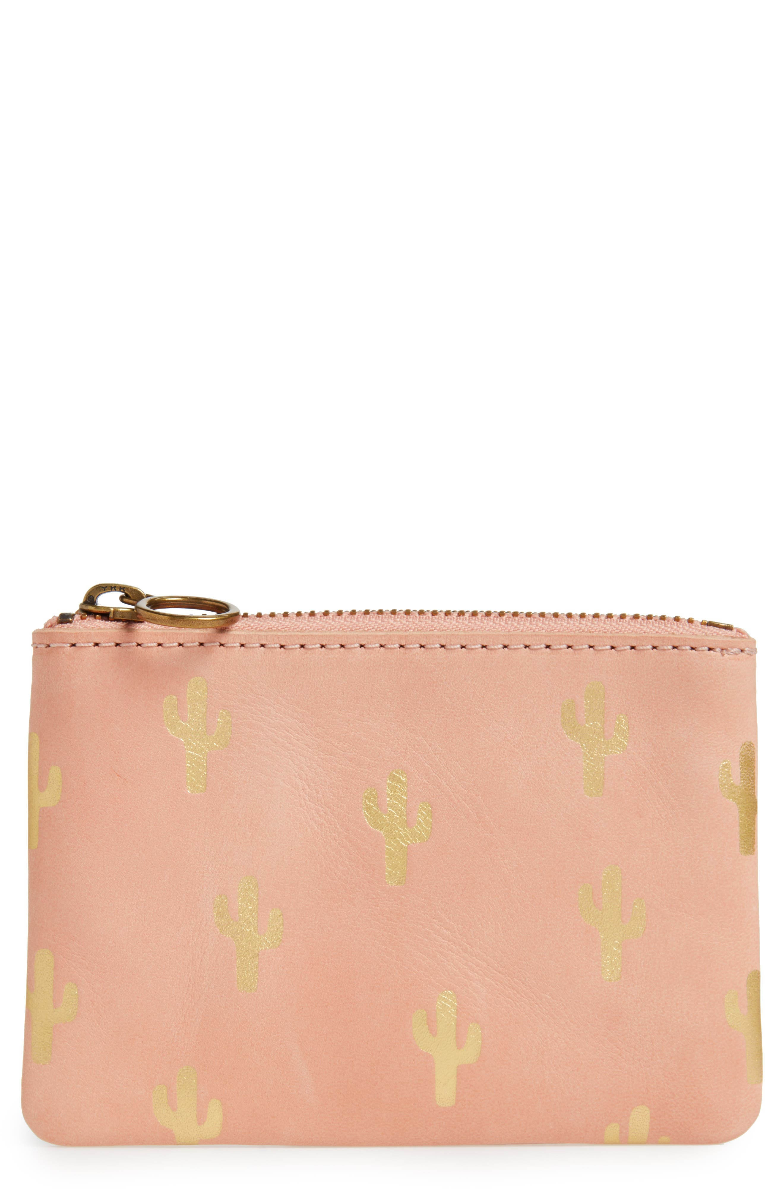 The Leather Pouch Wallet: Embossed Cactus Edition,                             Main thumbnail 1, color,                             Petal Pink