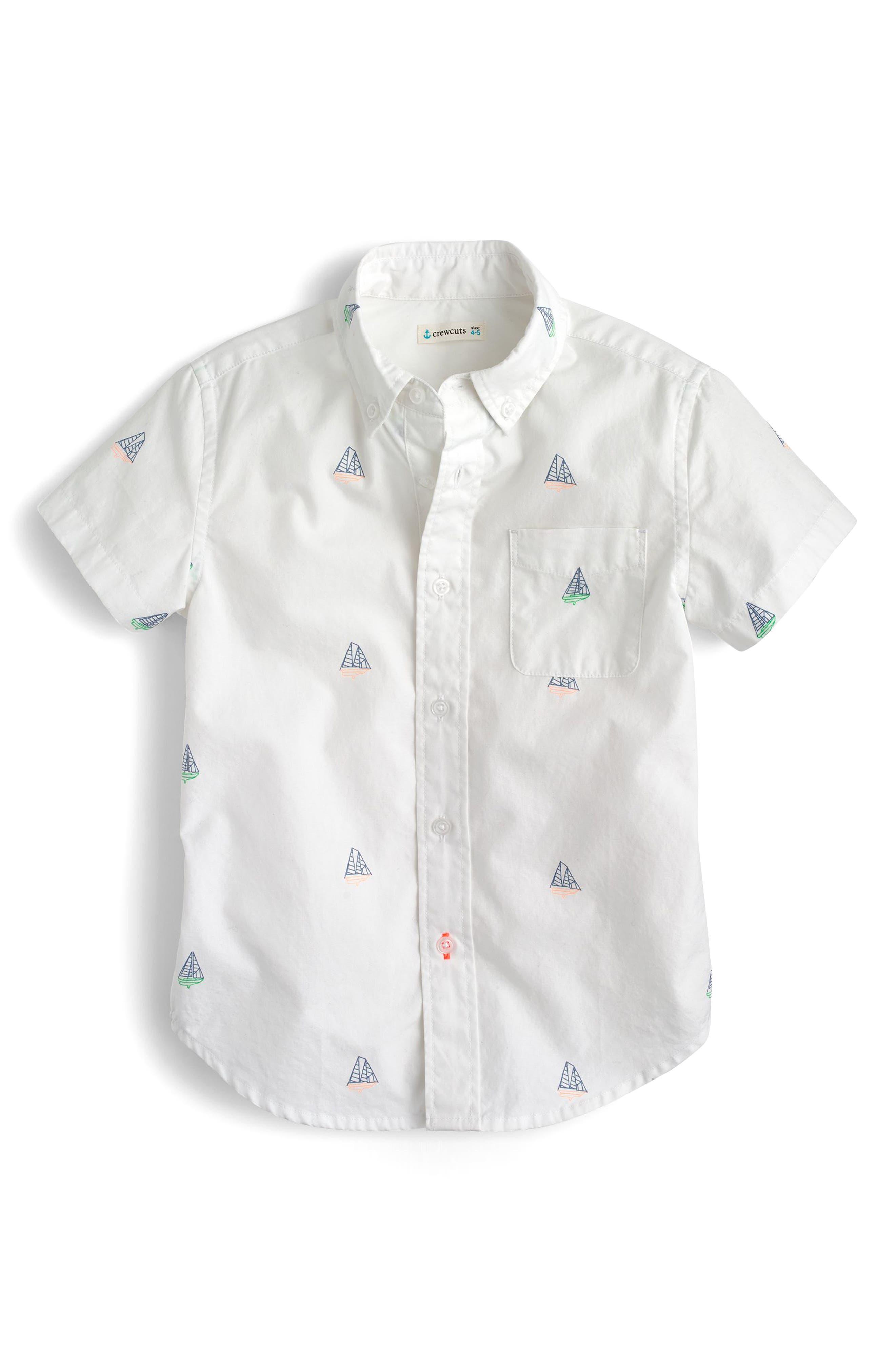Critter Sailboats Short Sleeve Oxford Shirt,                             Main thumbnail 1, color,                             Schooner Multi