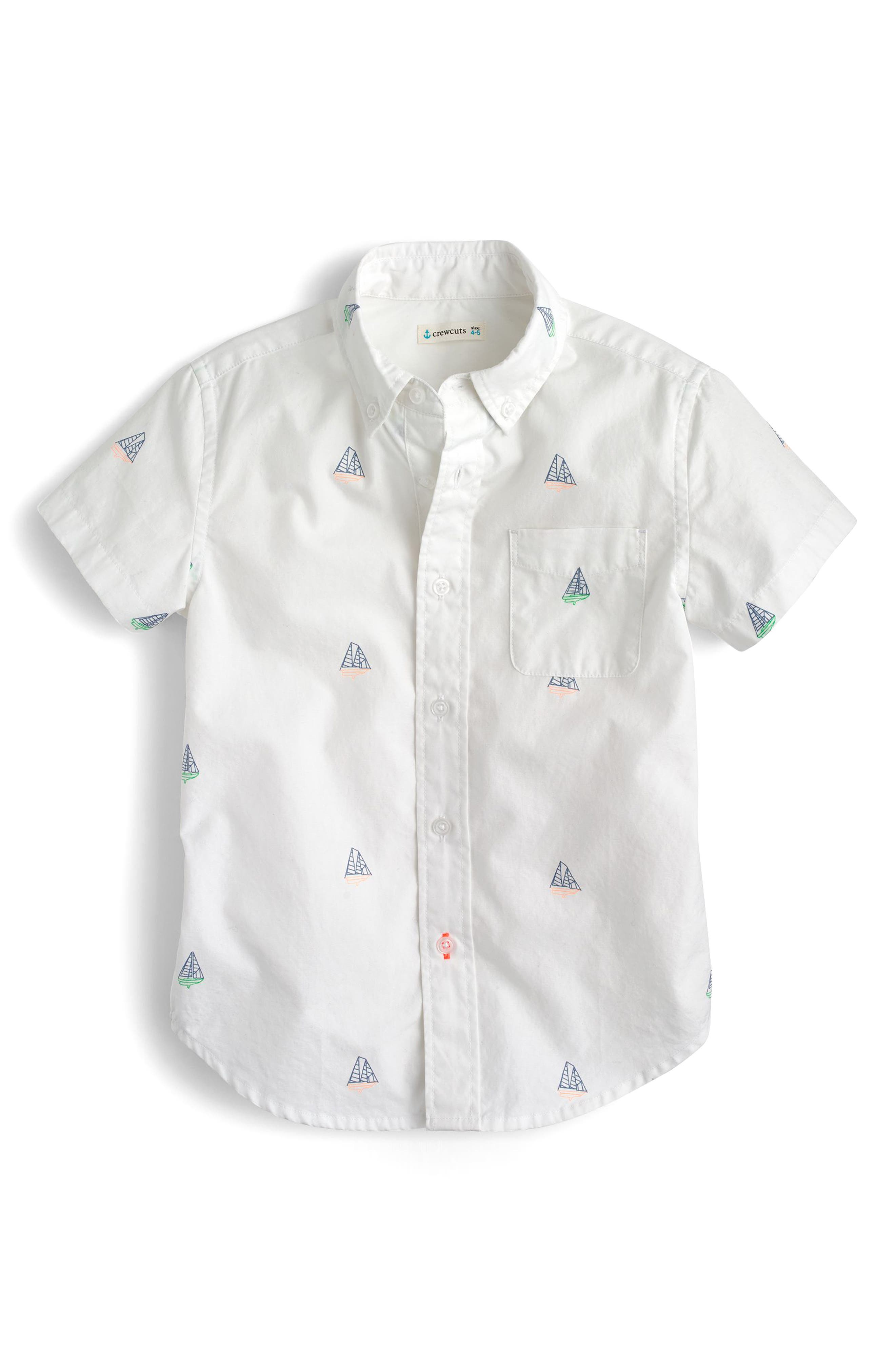 Critter Sailboats Short Sleeve Oxford Shirt,                         Main,                         color, Schooner Multi