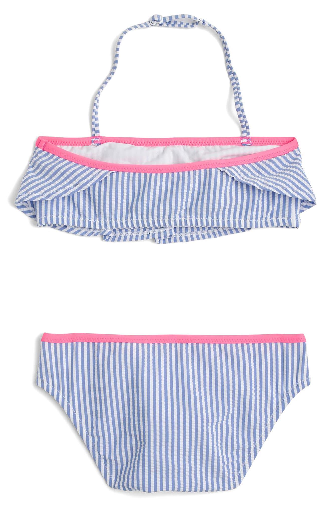 Ruffled Seersucker Two-Piece Bikini Swimsuit,                             Alternate thumbnail 2, color,                             Blue Pink Multi
