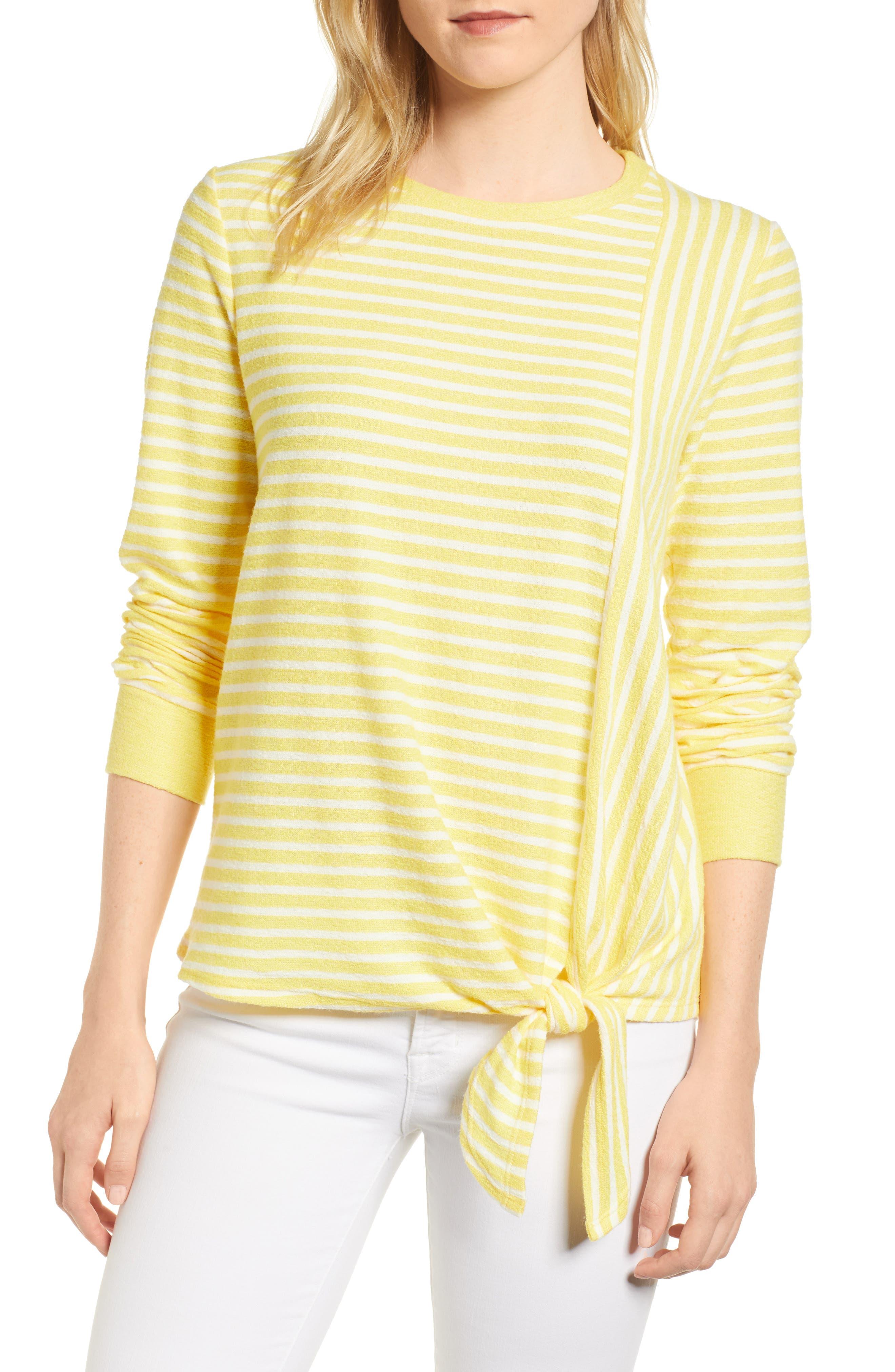 Tie Front Stripe Top,                             Main thumbnail 1, color,                             Yellow/ White Stripe