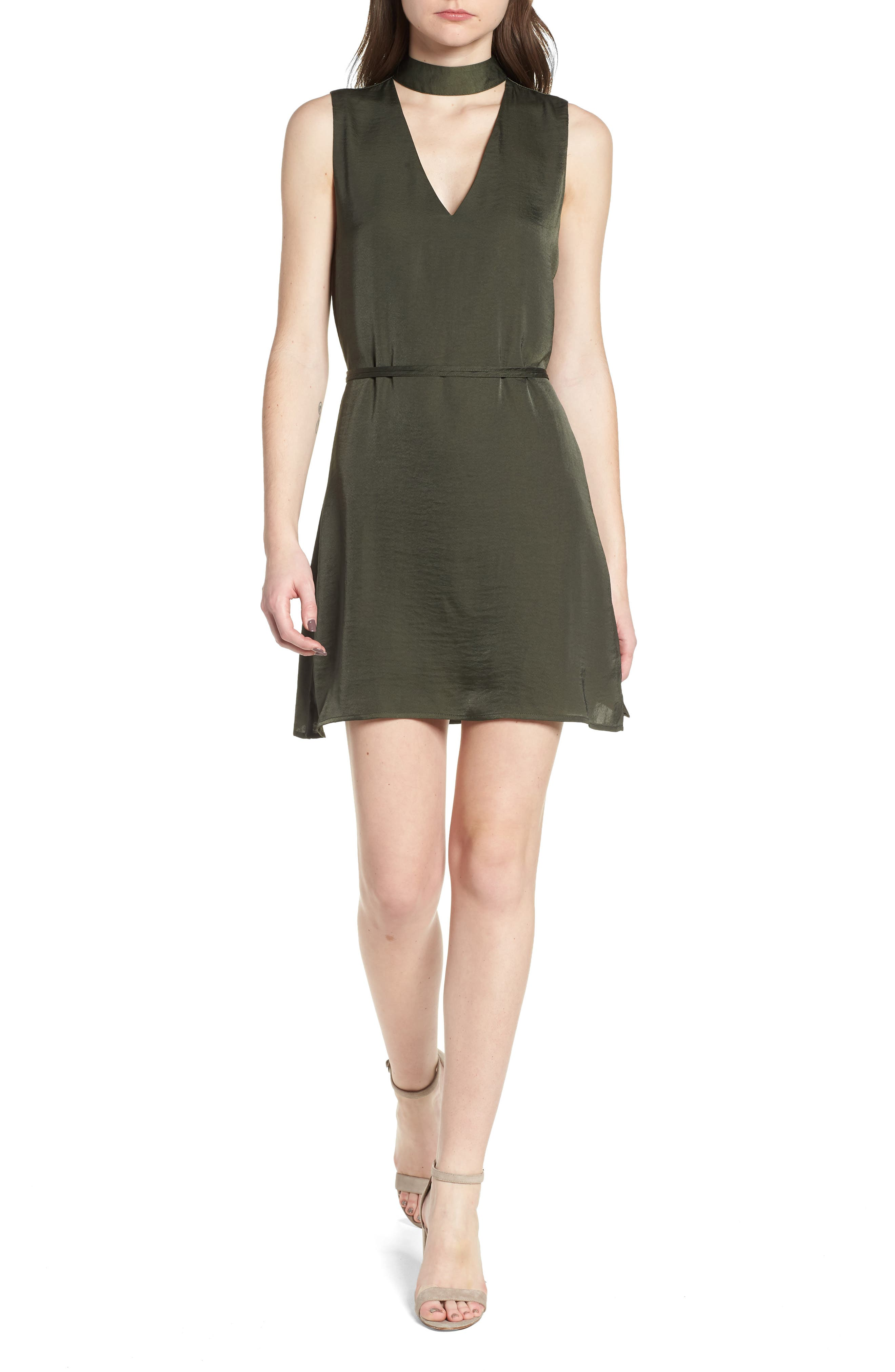 Hansel Sleeveless Dress,                             Main thumbnail 1, color,                             Army