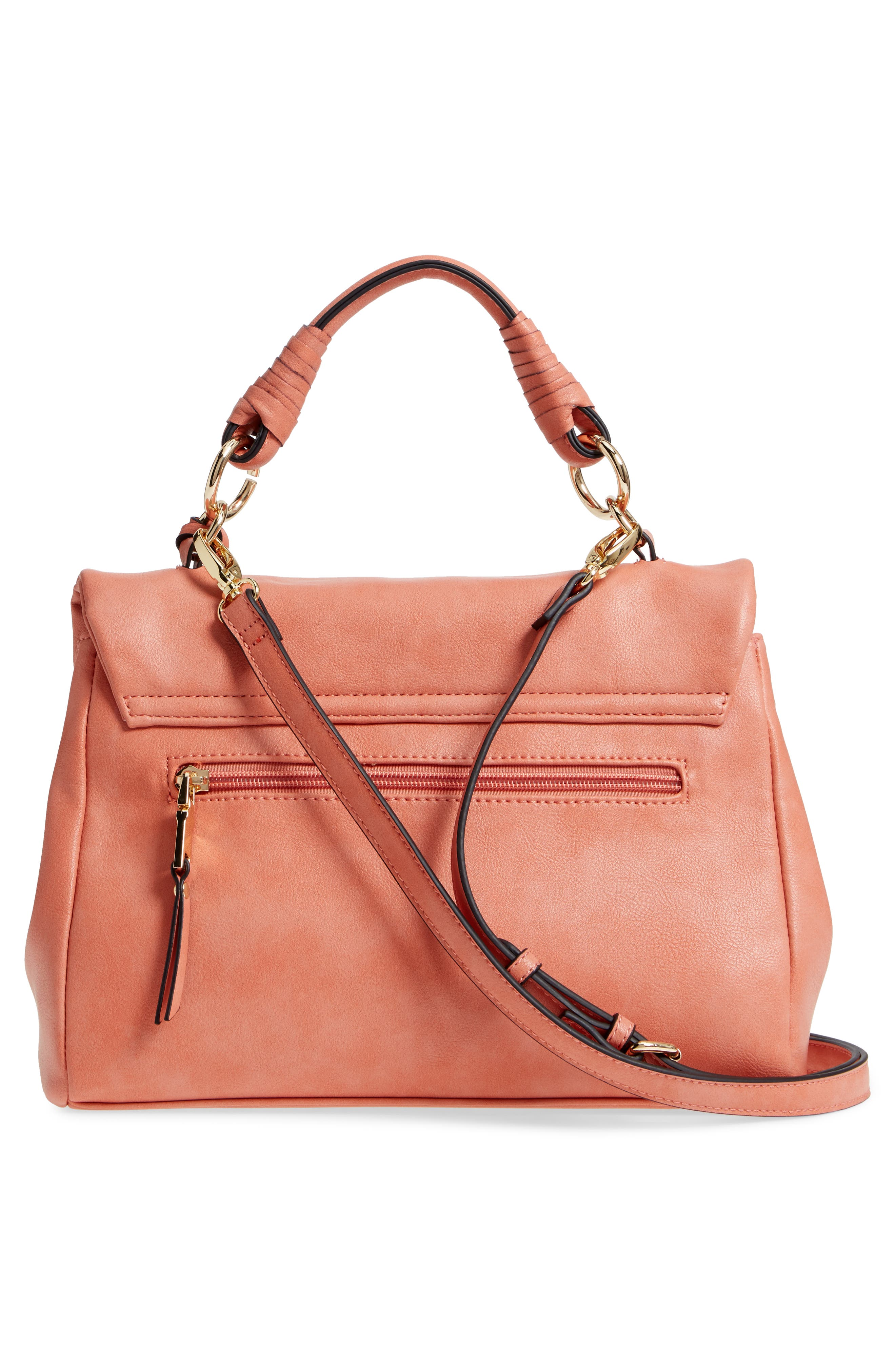 Top Handle Faux Leather Crossbody Bag,                             Alternate thumbnail 3, color,                             Deep Coral