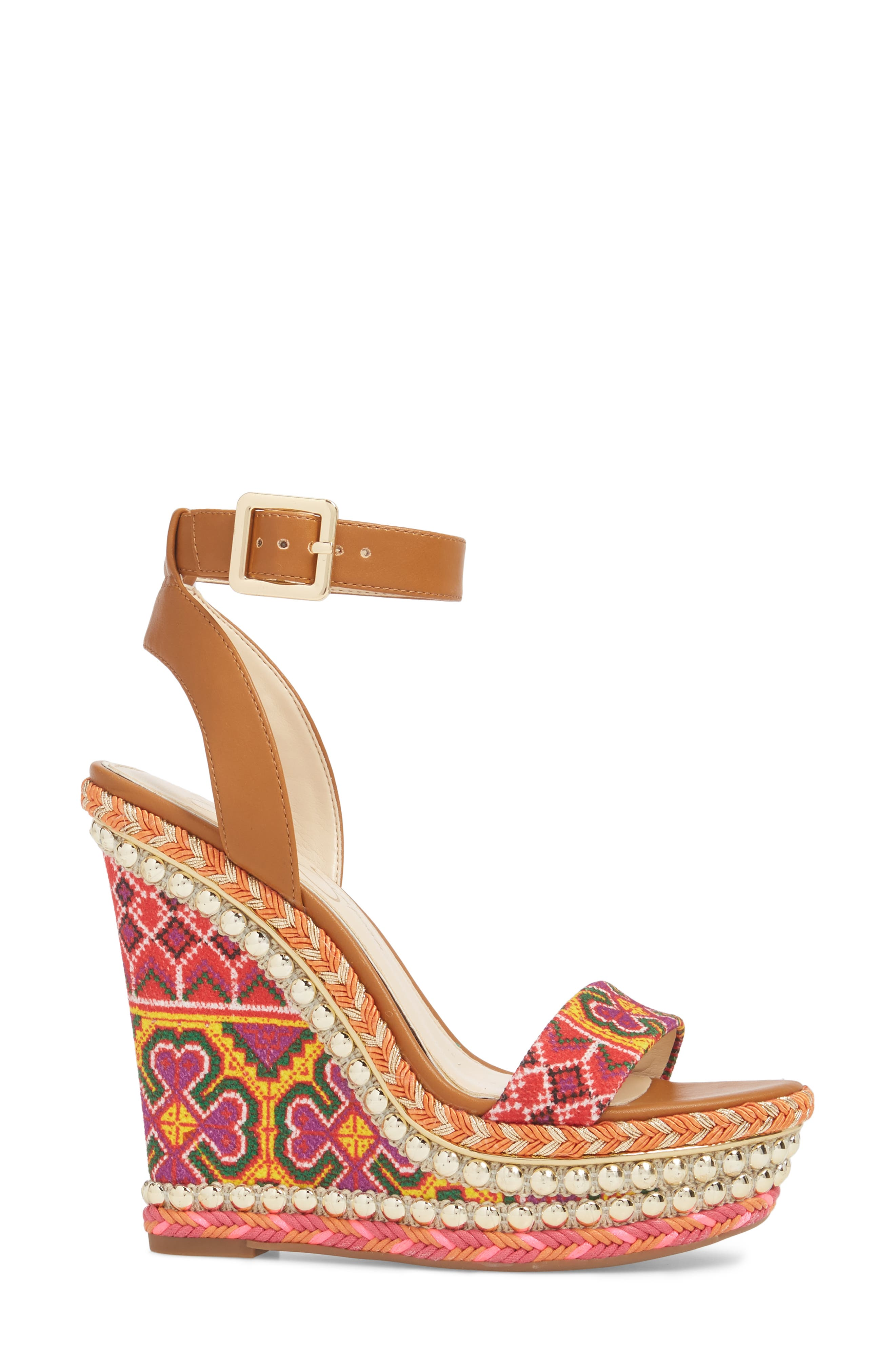 Alinda Embellished Wedge Sandal,                             Alternate thumbnail 3, color,                             Red Multi