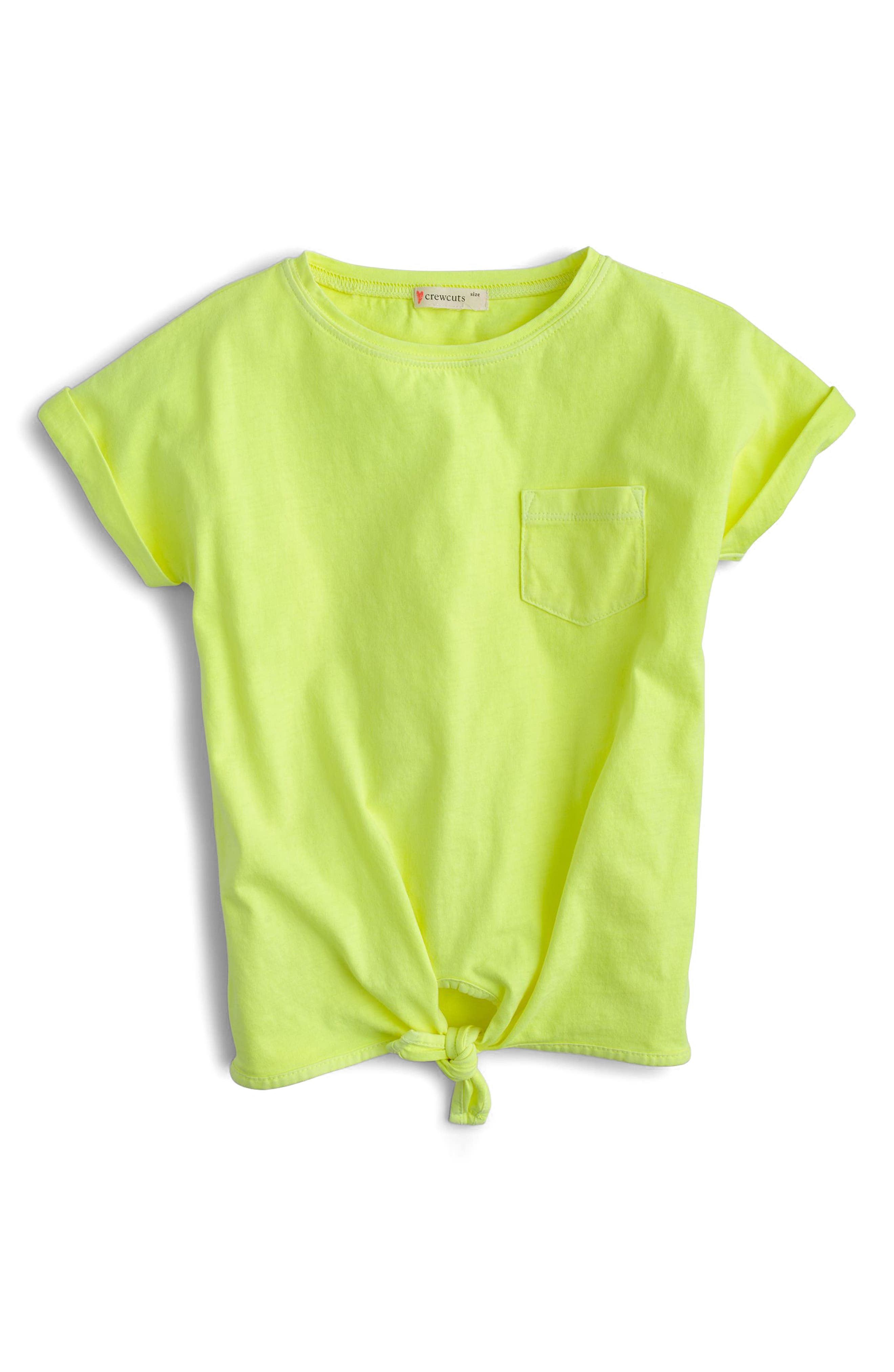 Tie Front Tee,                             Main thumbnail 1, color,                             Neon Daffodil