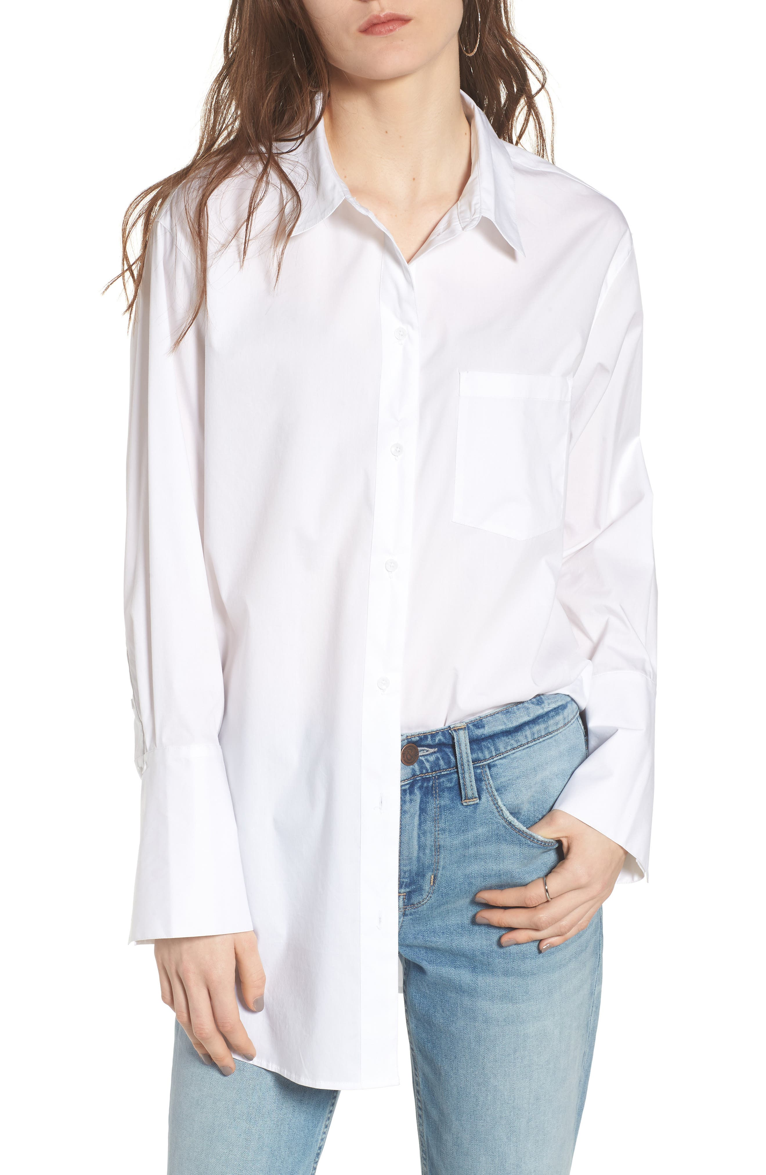Loose Sleeve Poplin Tunic Shirt,                         Main,                         color, White