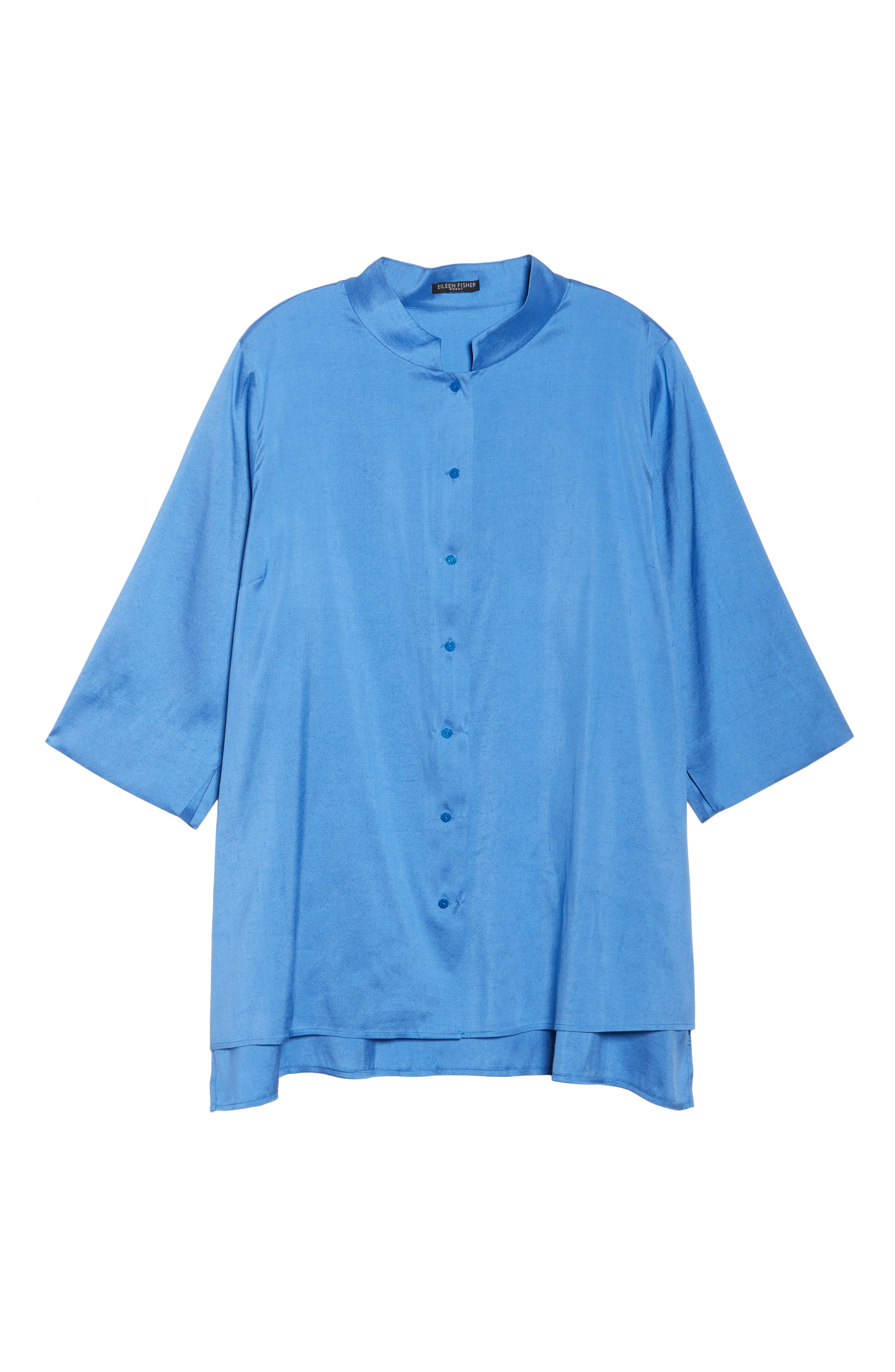 Notch Collar Shirt,                             Alternate thumbnail 6, color,                             Blue Bell