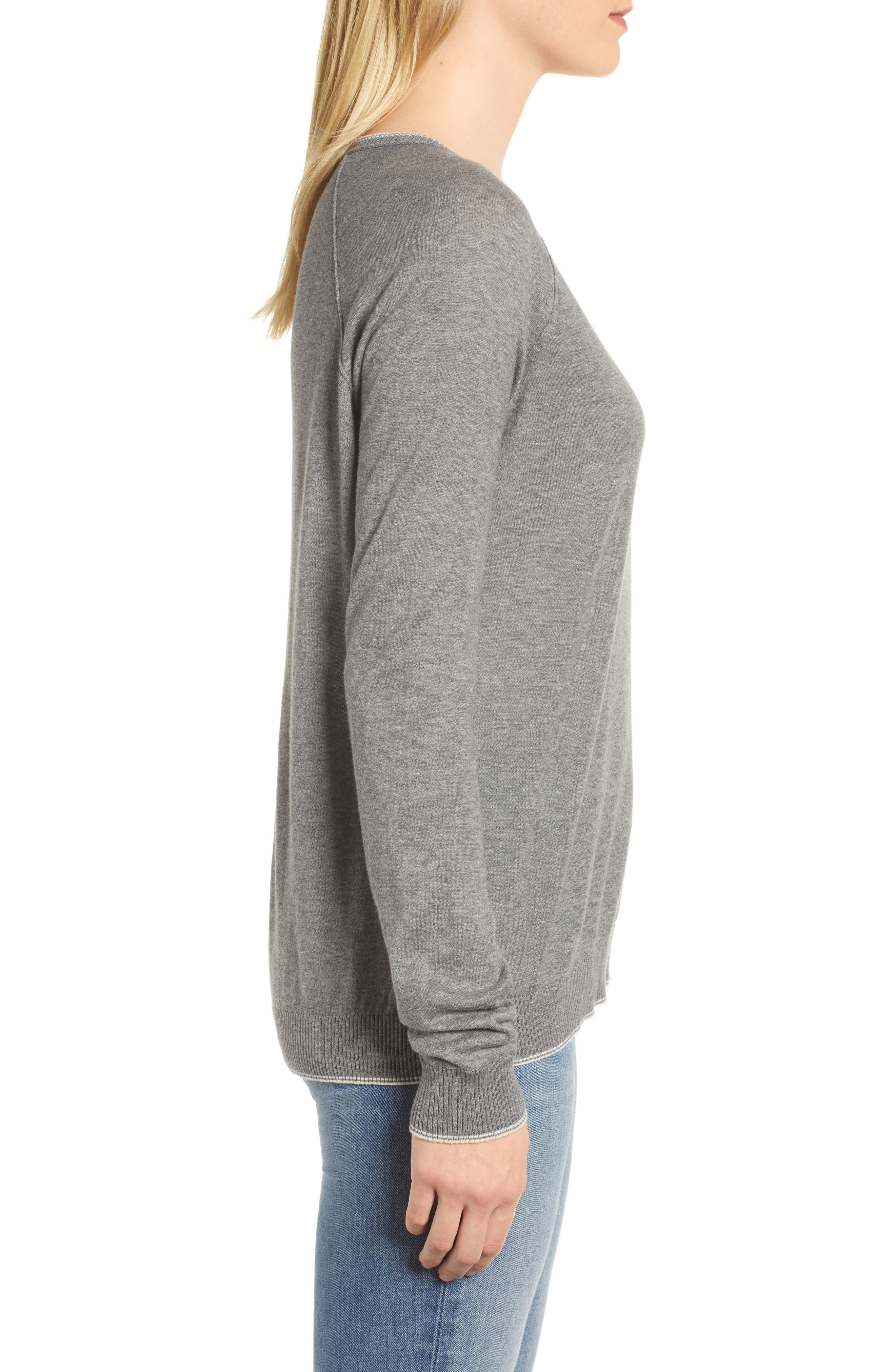 Lux Cotton Sweater,                             Alternate thumbnail 3, color,                             Heather Grey