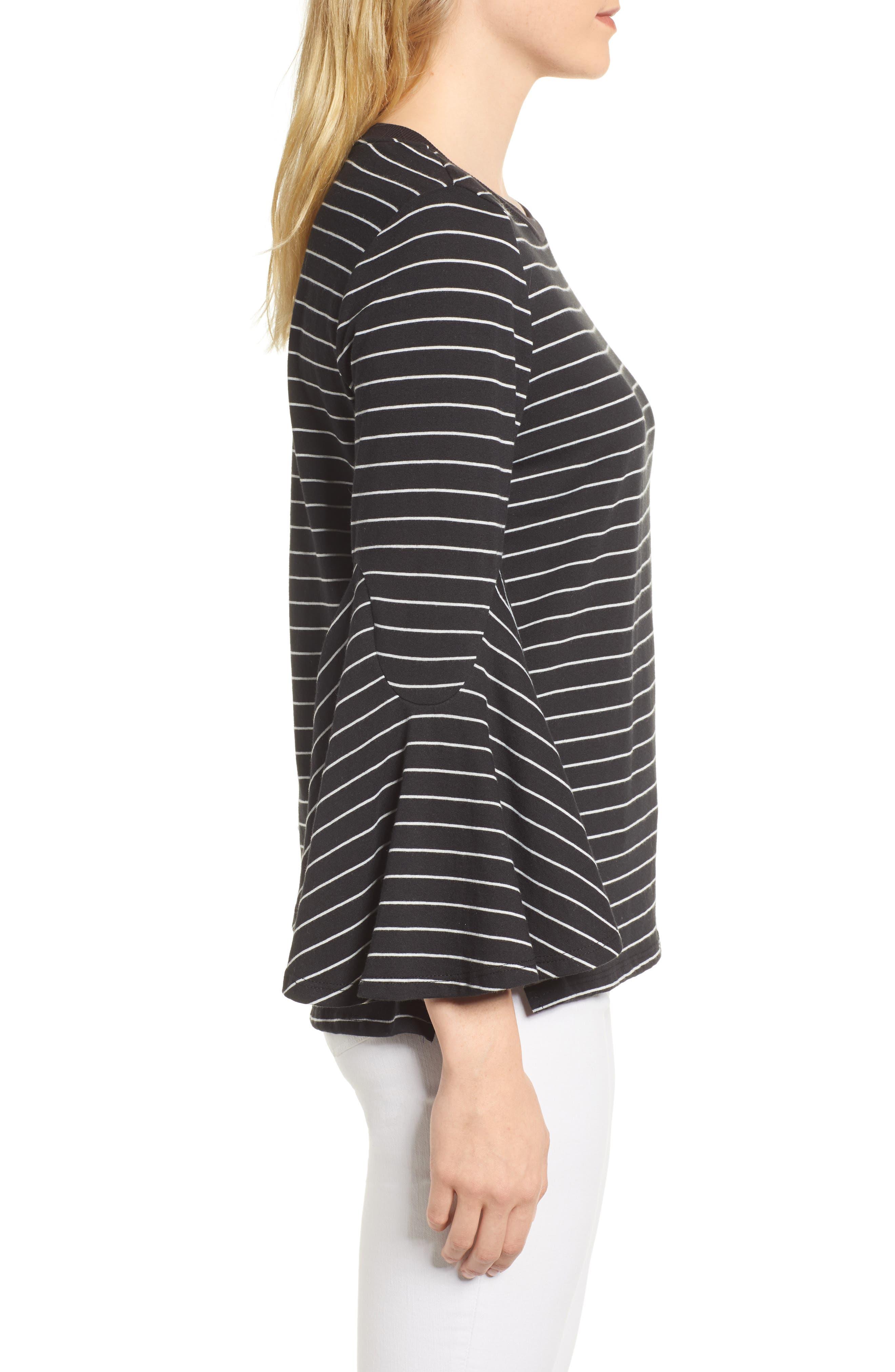 Stripe Bell Sleeve Top,                             Alternate thumbnail 3, color,                             Black/ White Even Stripe