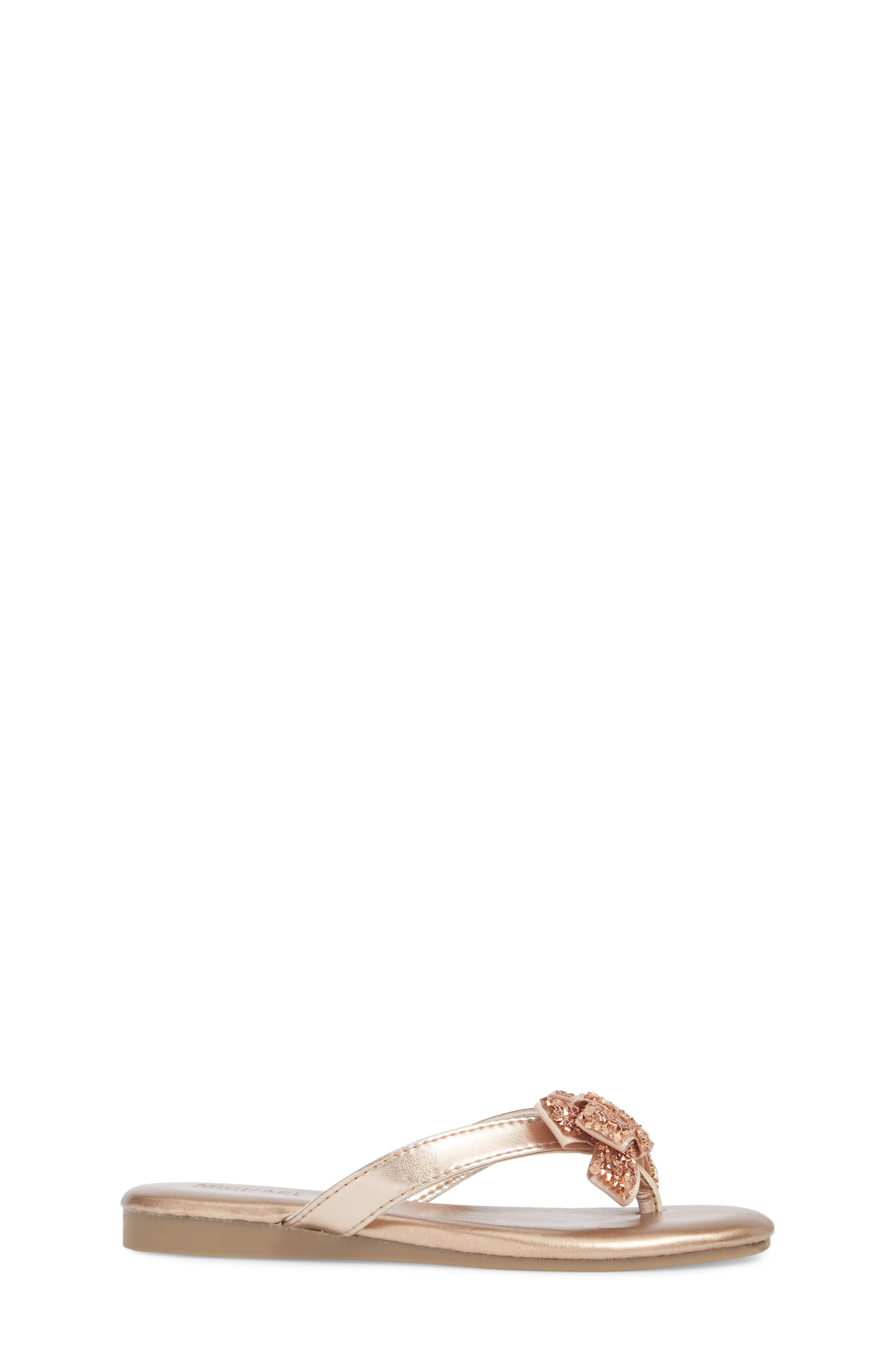 Embellished Bow Flip Flop,                             Alternate thumbnail 3, color,                             Rose Gold