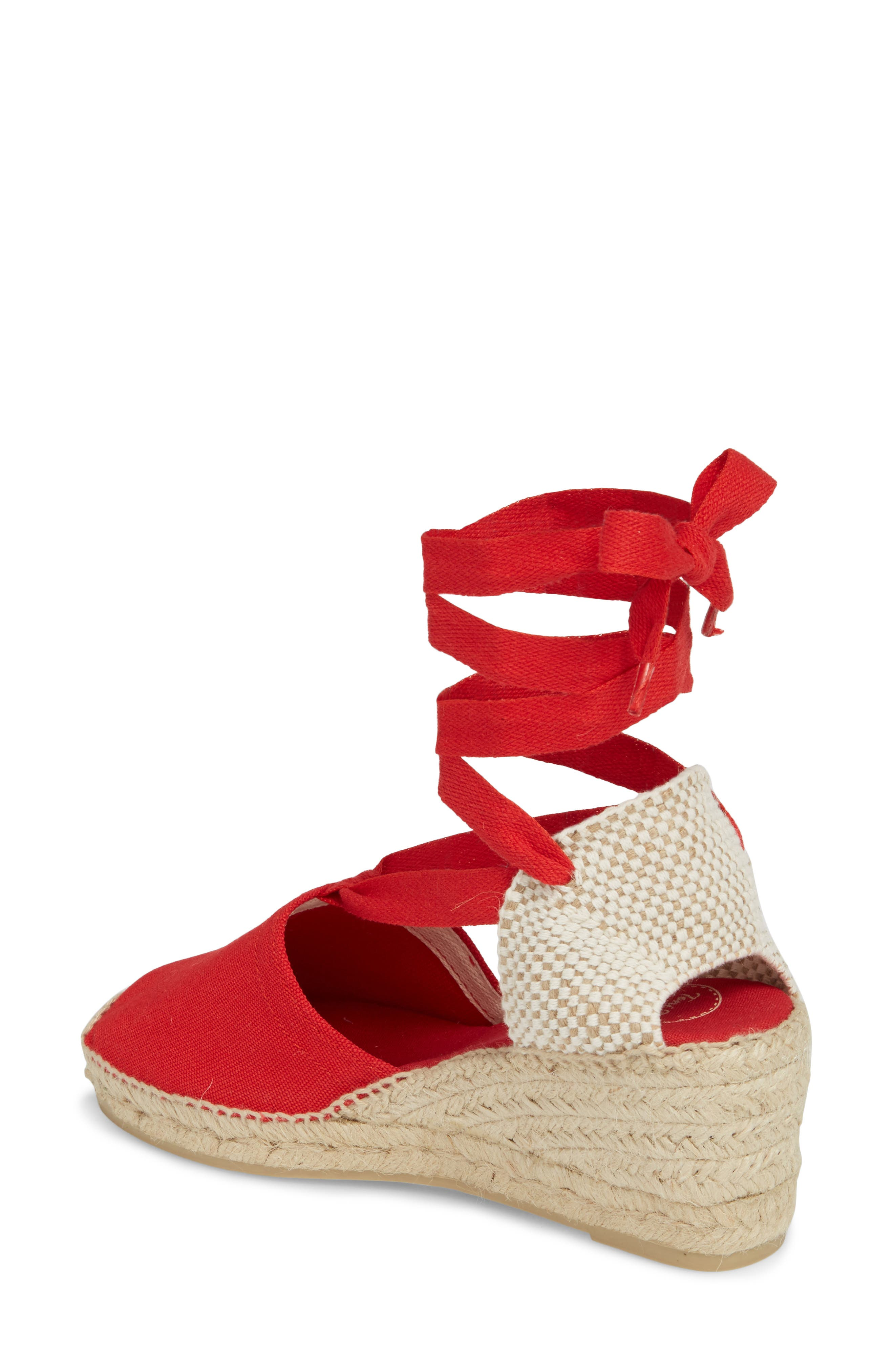 Valencia Wraparound Espadrille Wedge,                             Alternate thumbnail 2, color,                             Red Fabric