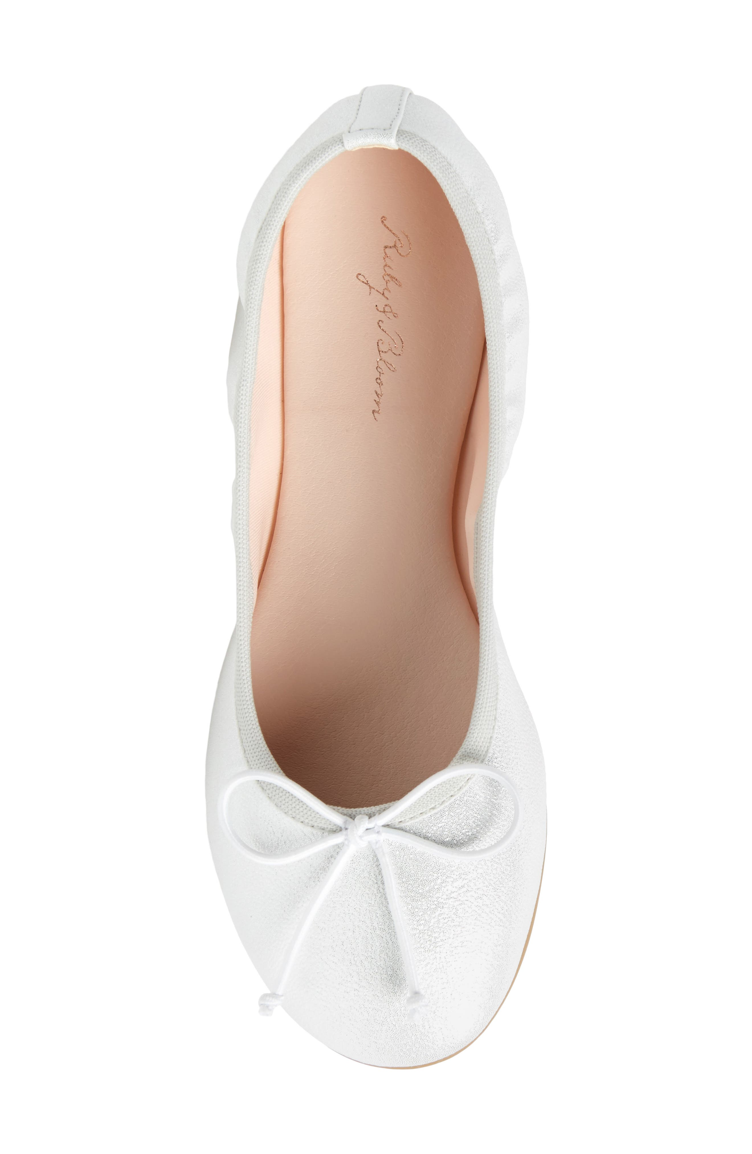 Bella Ballet Flat,                             Alternate thumbnail 5, color,                             Silver Shimmer Faux Leather