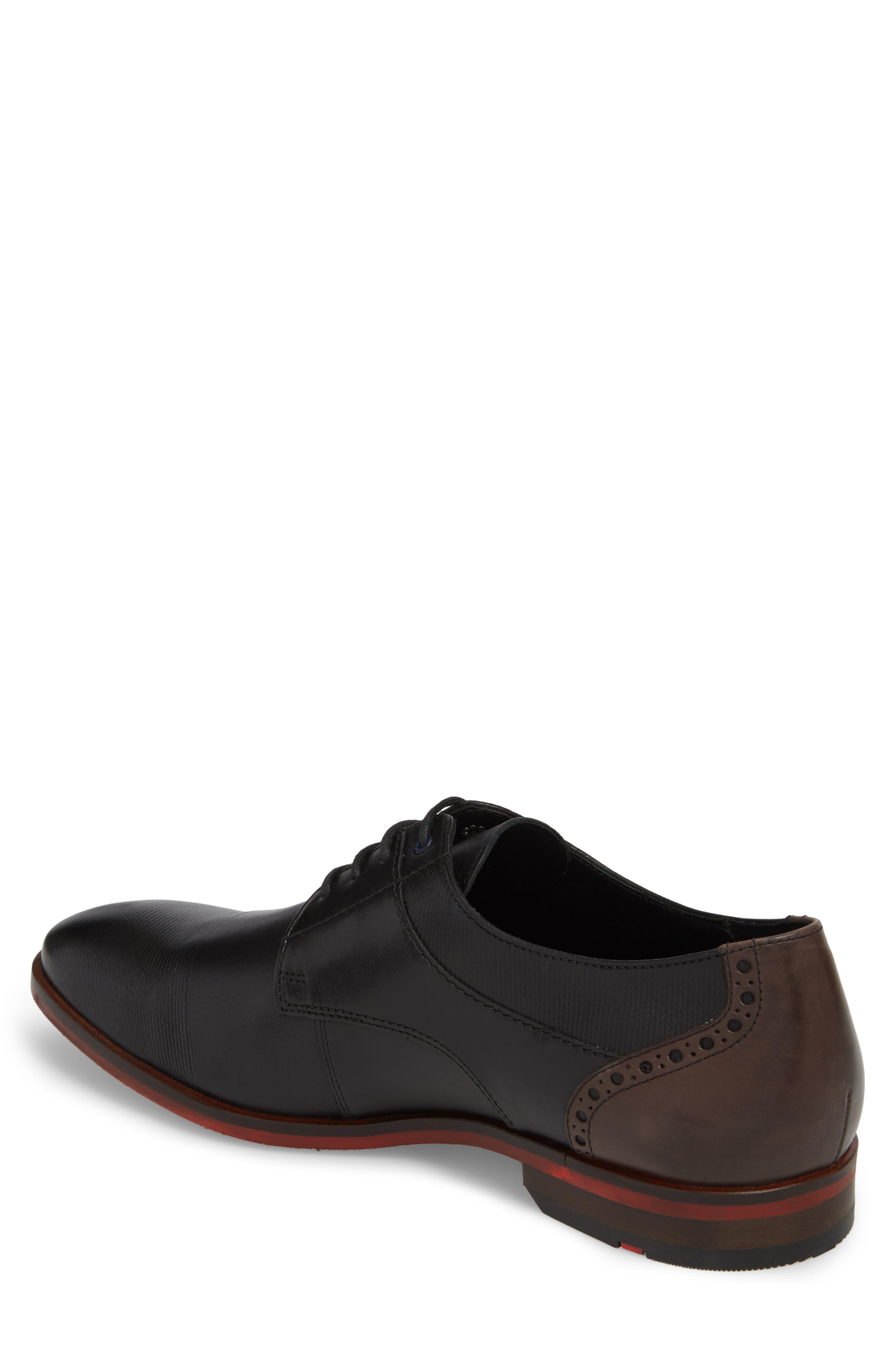 Henley Embossed Cap Toe Derby,                             Alternate thumbnail 2, color,                             Black/ Blue Leather