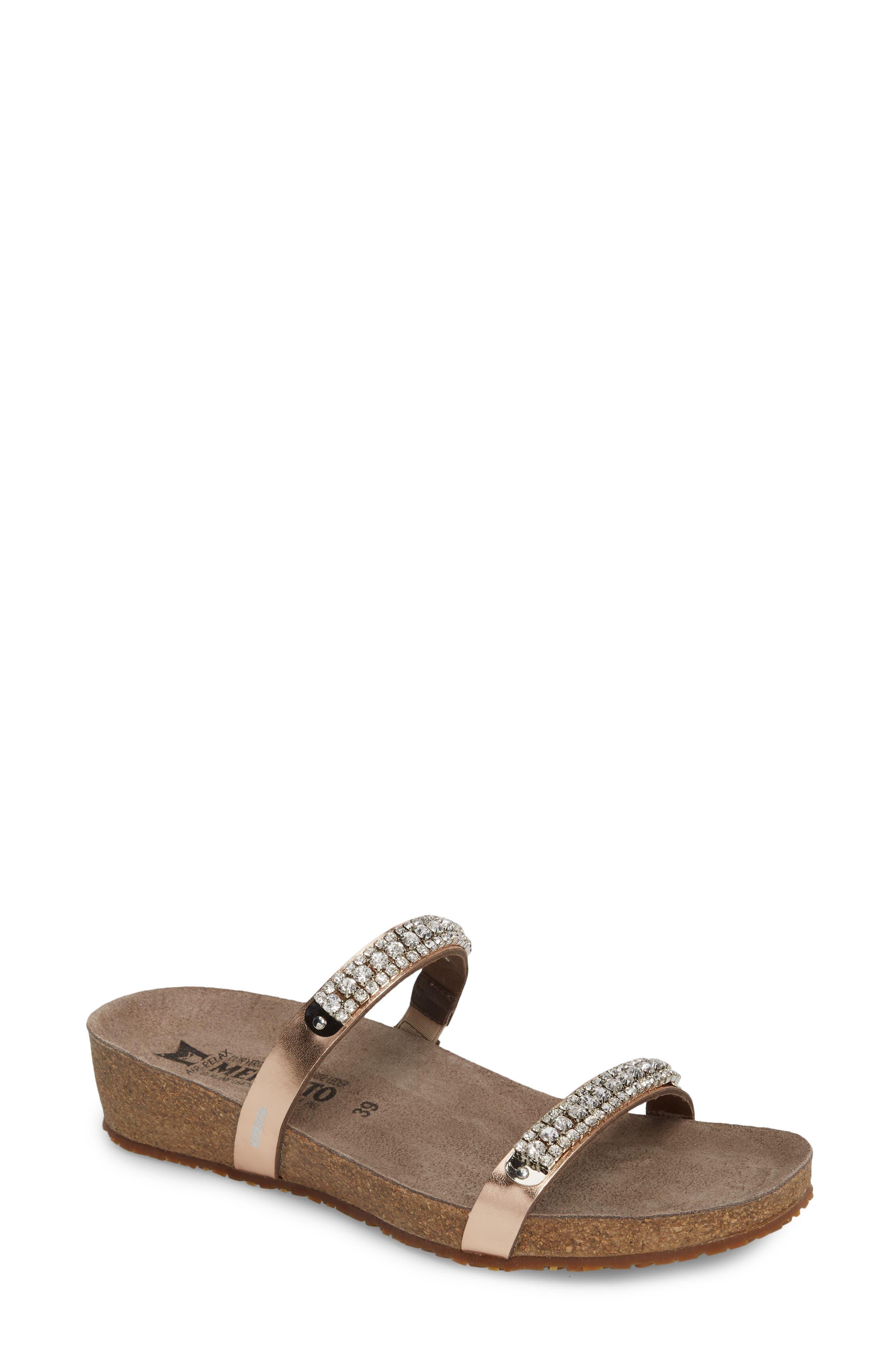 'Ivana' Crystal Embellished Slide Sandal,                             Main thumbnail 1, color,                             Old Pink Leather